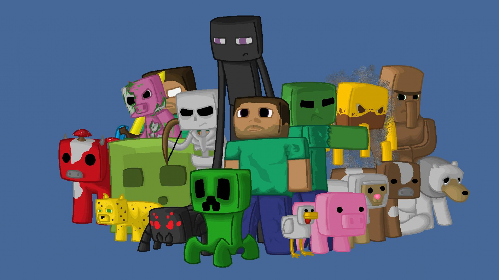 Download Wallpaper 2048x1152 Minecraft Characters Game Pixels Java 2048x1152