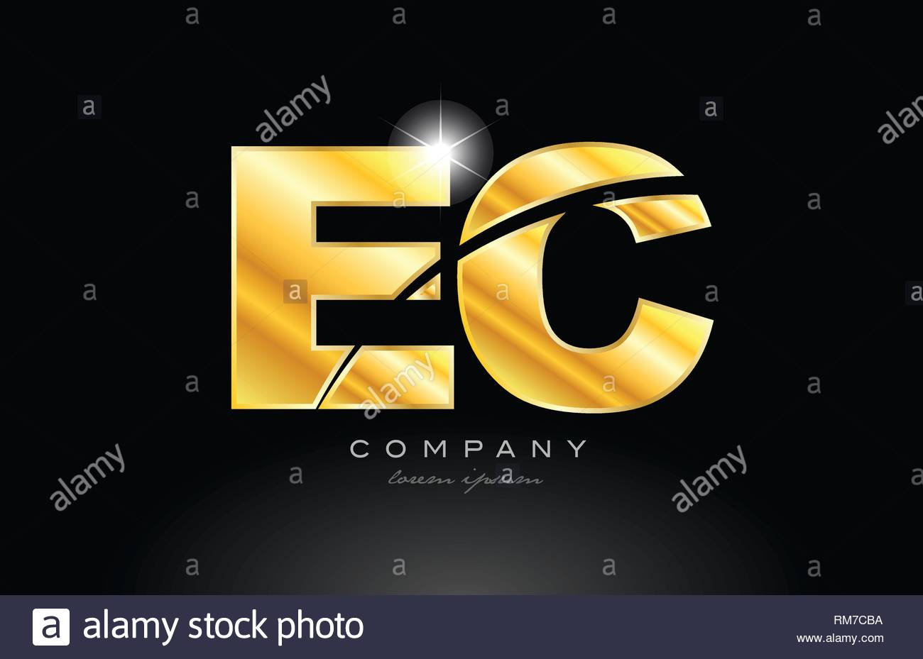combination letter ec e c gold golden alphabet logo icon design 1300x929