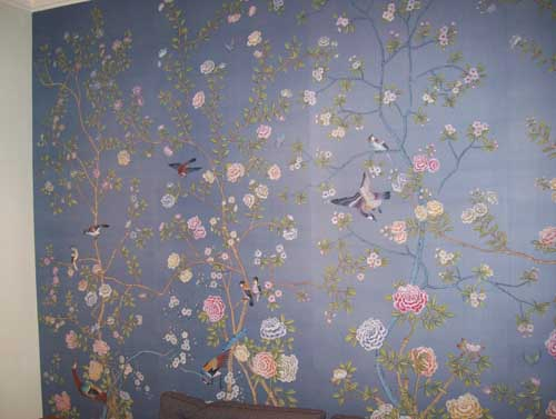 all of these pictures are hand painted silk wallpaper from degournay 500x377