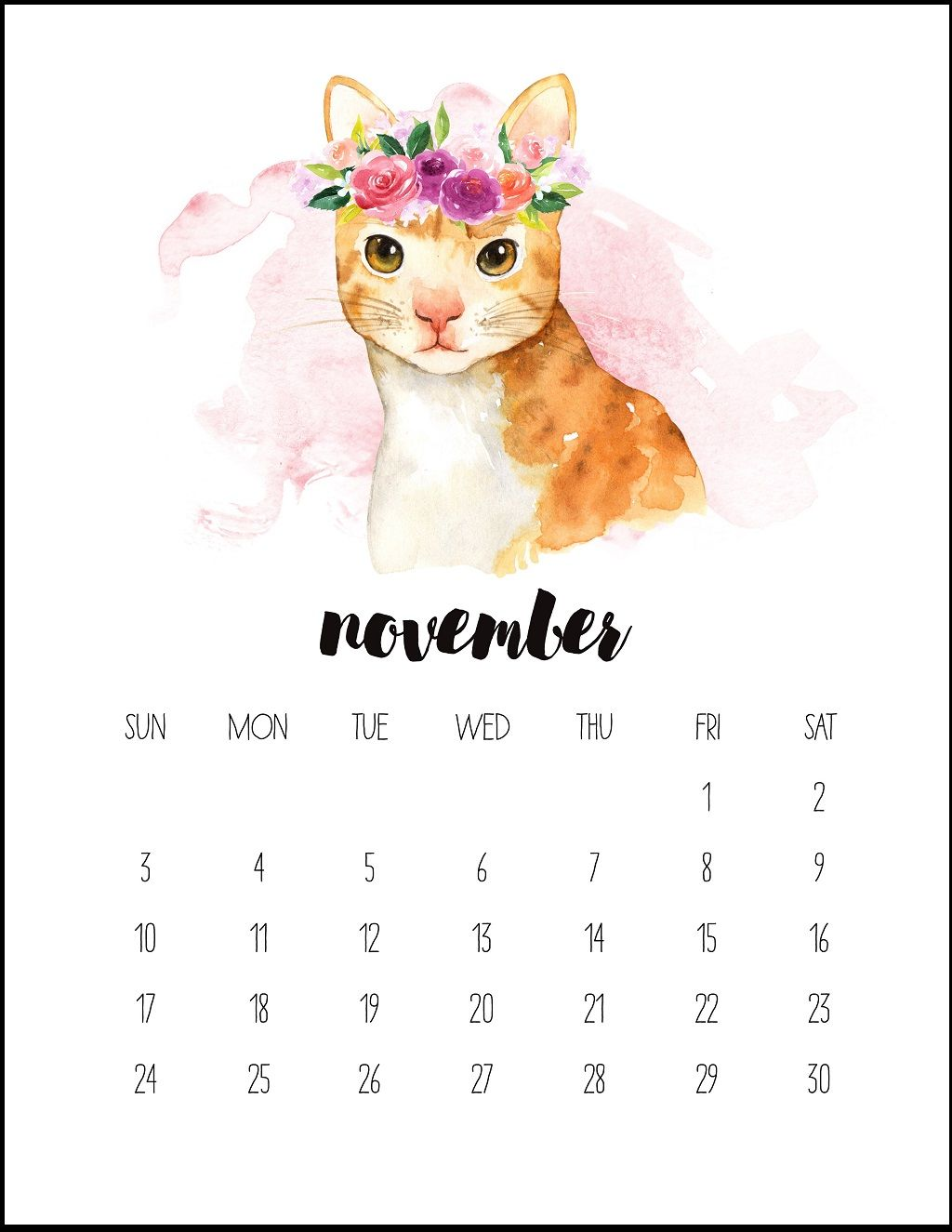 Watercolor November 2019 Printable Calendar Calendar 2019 1024x1325