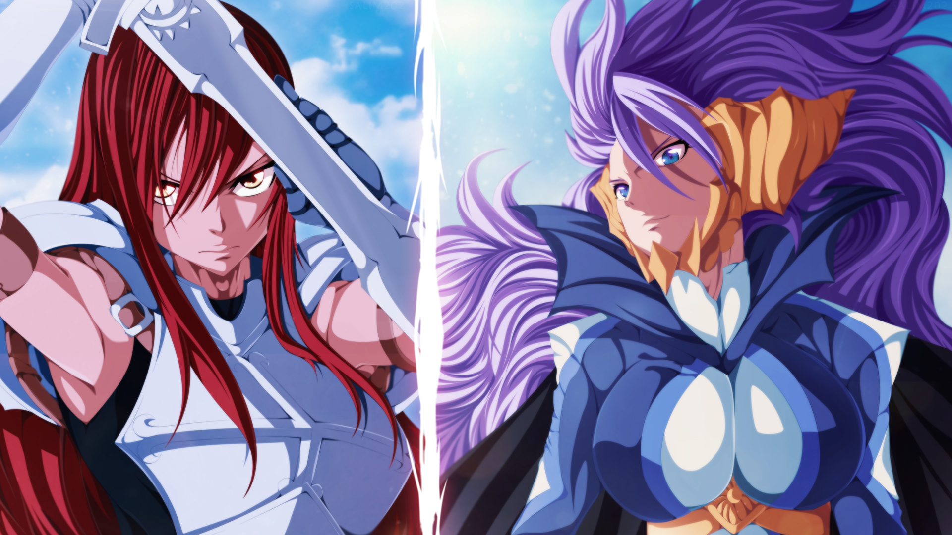 erza scarlet and mirajane staruss satal soul sitri fairy tail girl 1920x1080