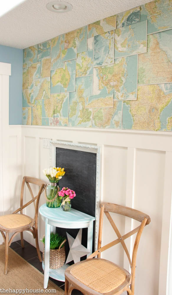 Tweaking the Entry Hall with DIY Faux Map Wallpaper The Happy Housie 583x1000