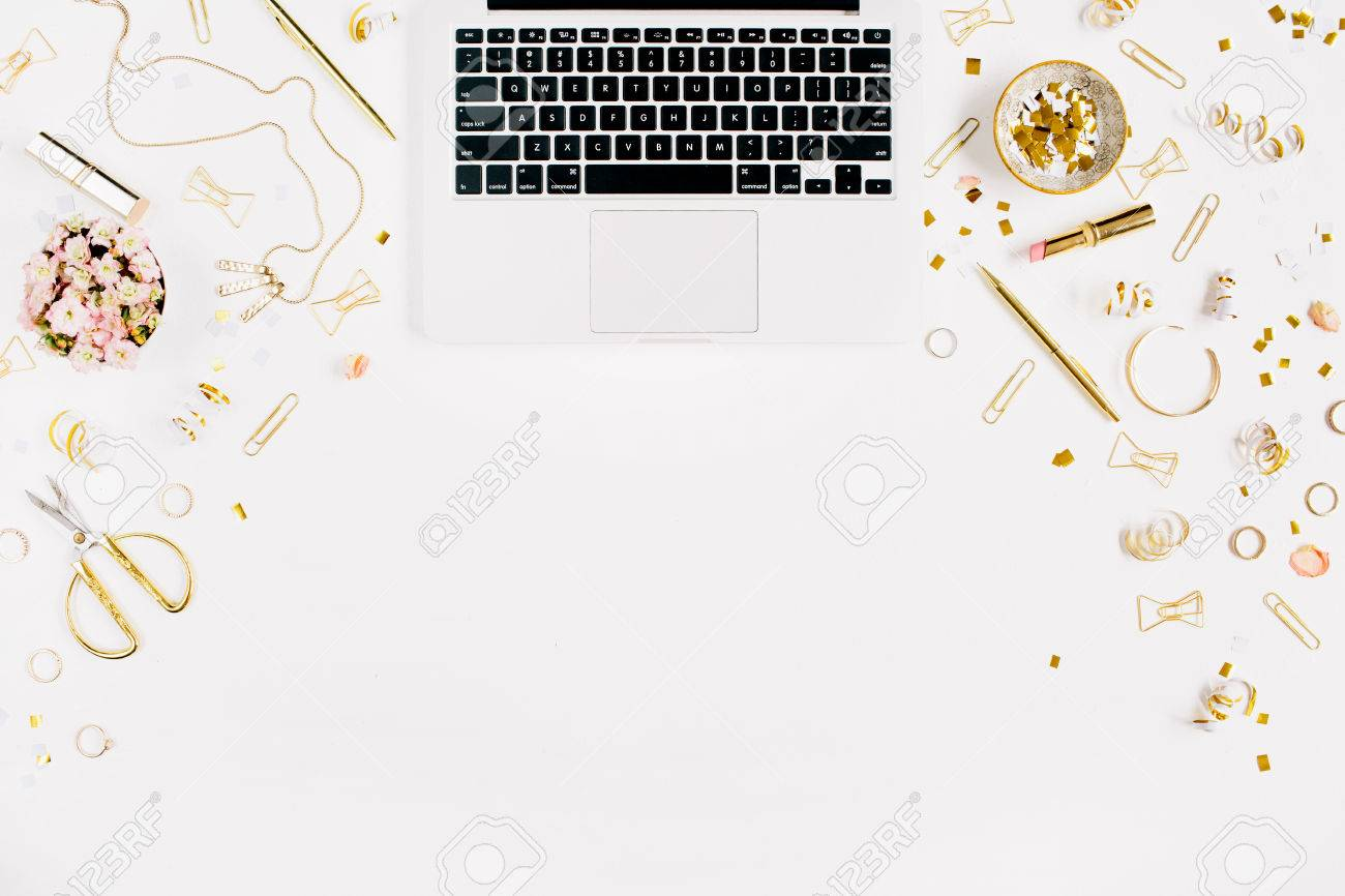 Beauty Blog Background Workspace With Laptop Gold Style Feminine 1300x866