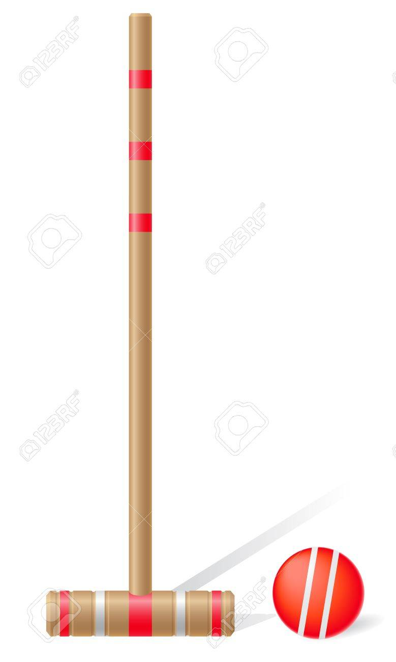 Croquet Mallet And Ball Vector Illustration Isolated On White 779x1300