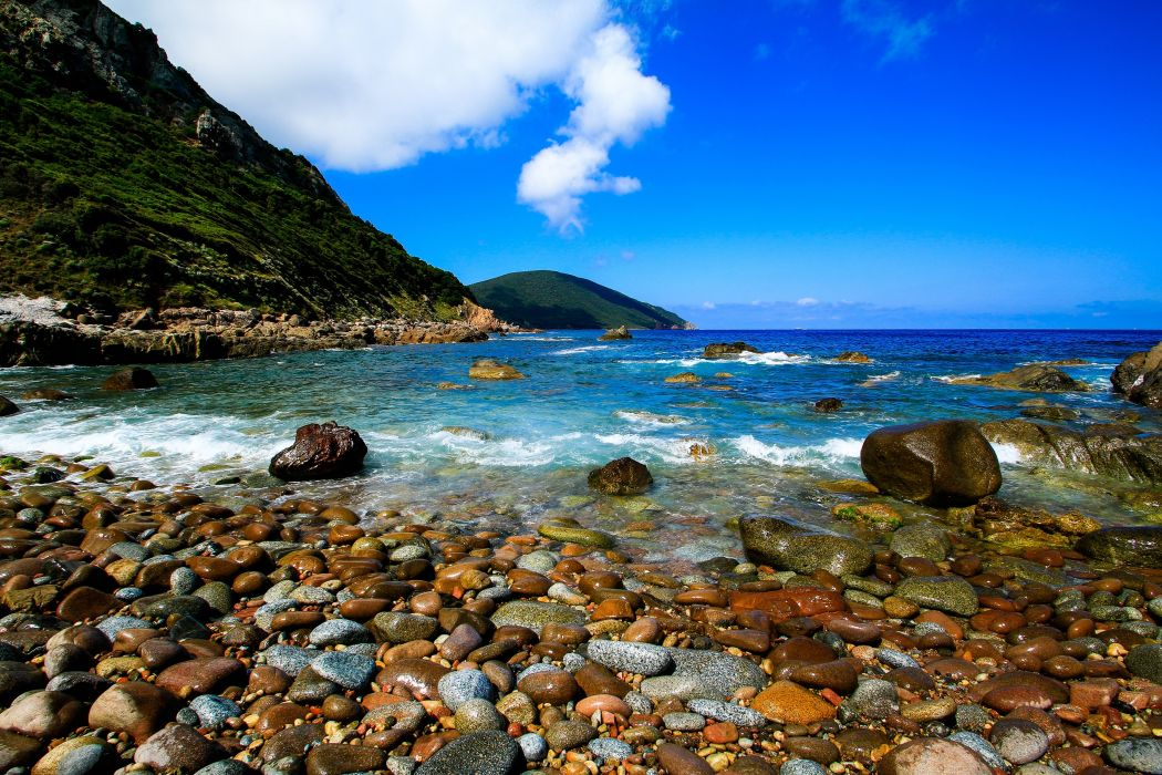 France Coast Sea Mountains Stones Corsica Nature wallpaper 1050x700