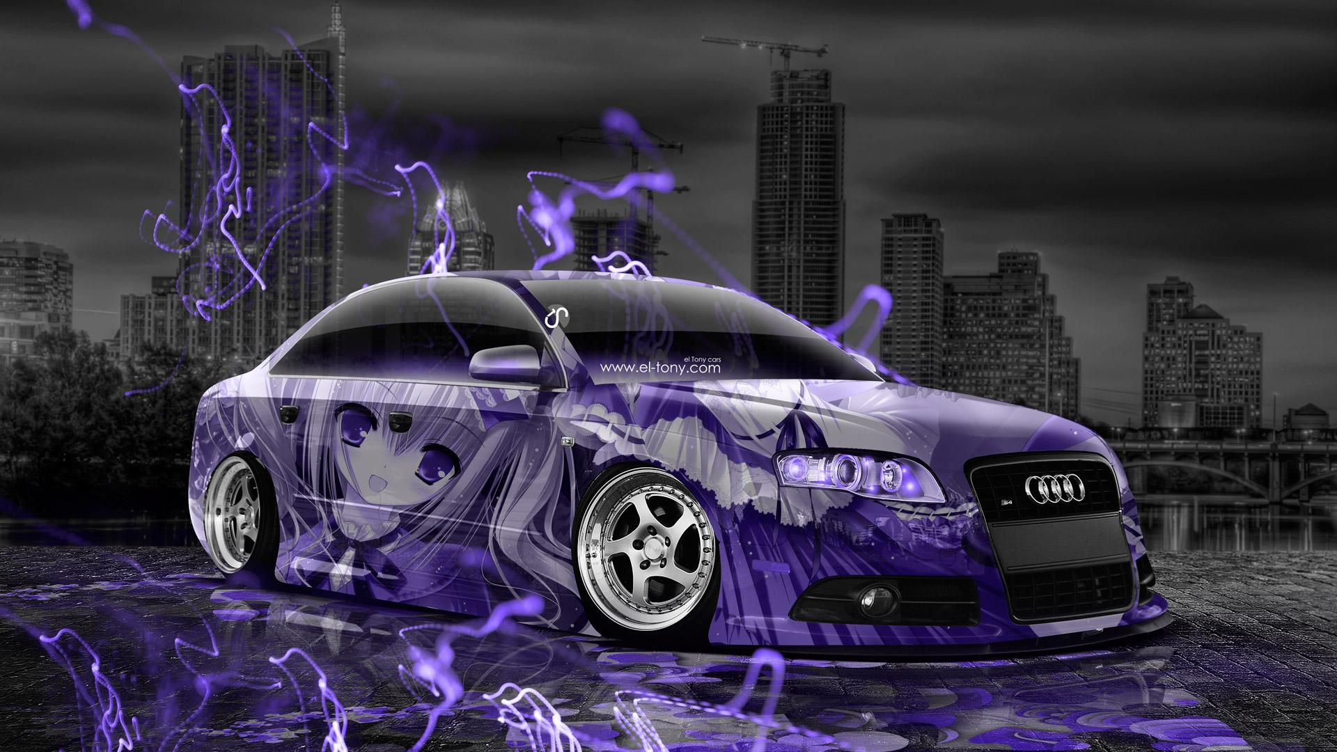 download Anime Girl Aerography City Car 2015 Violet Neon 1920x1080