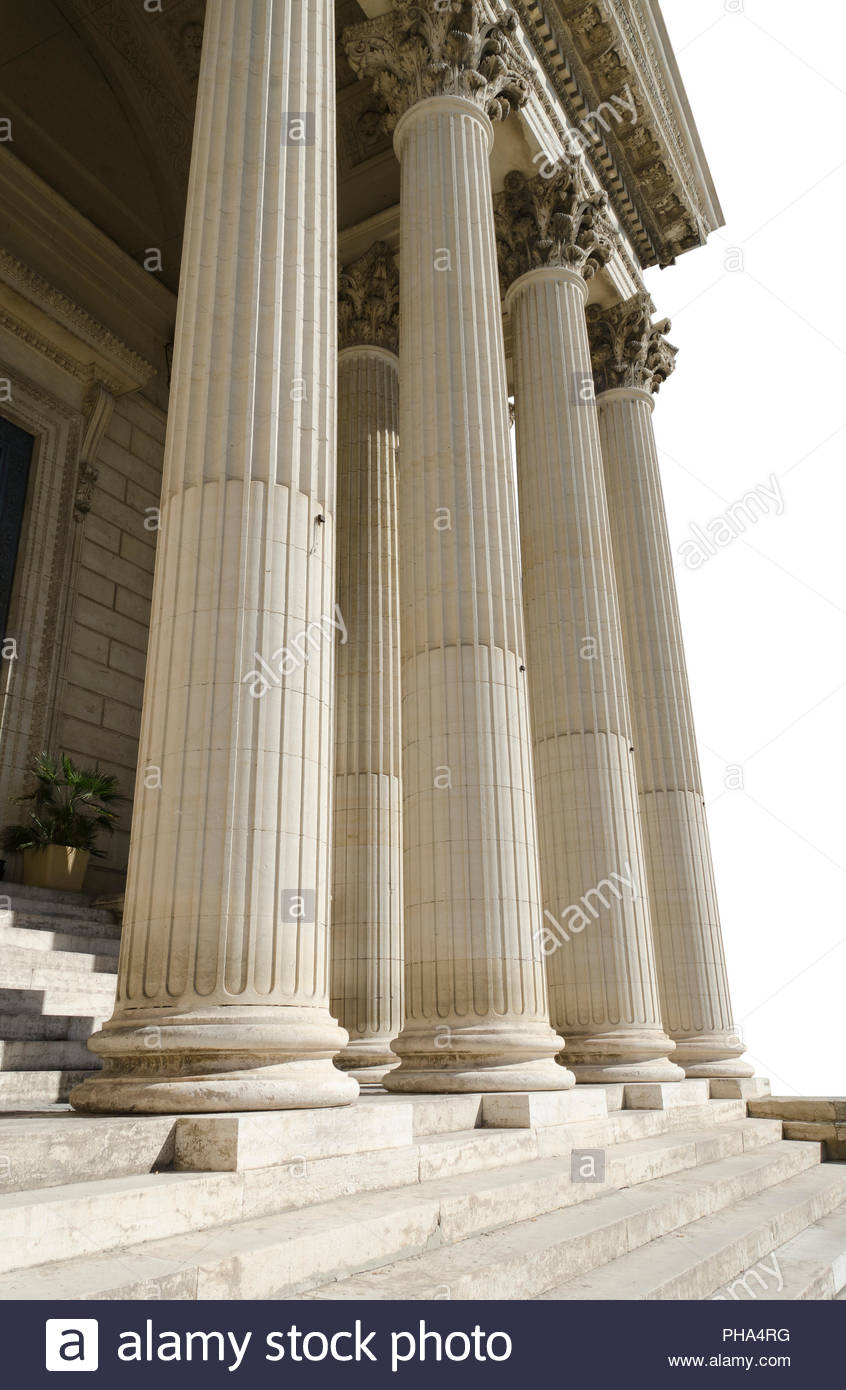 columns of courthouse isolated on a white background Stock Photo 846x1390
