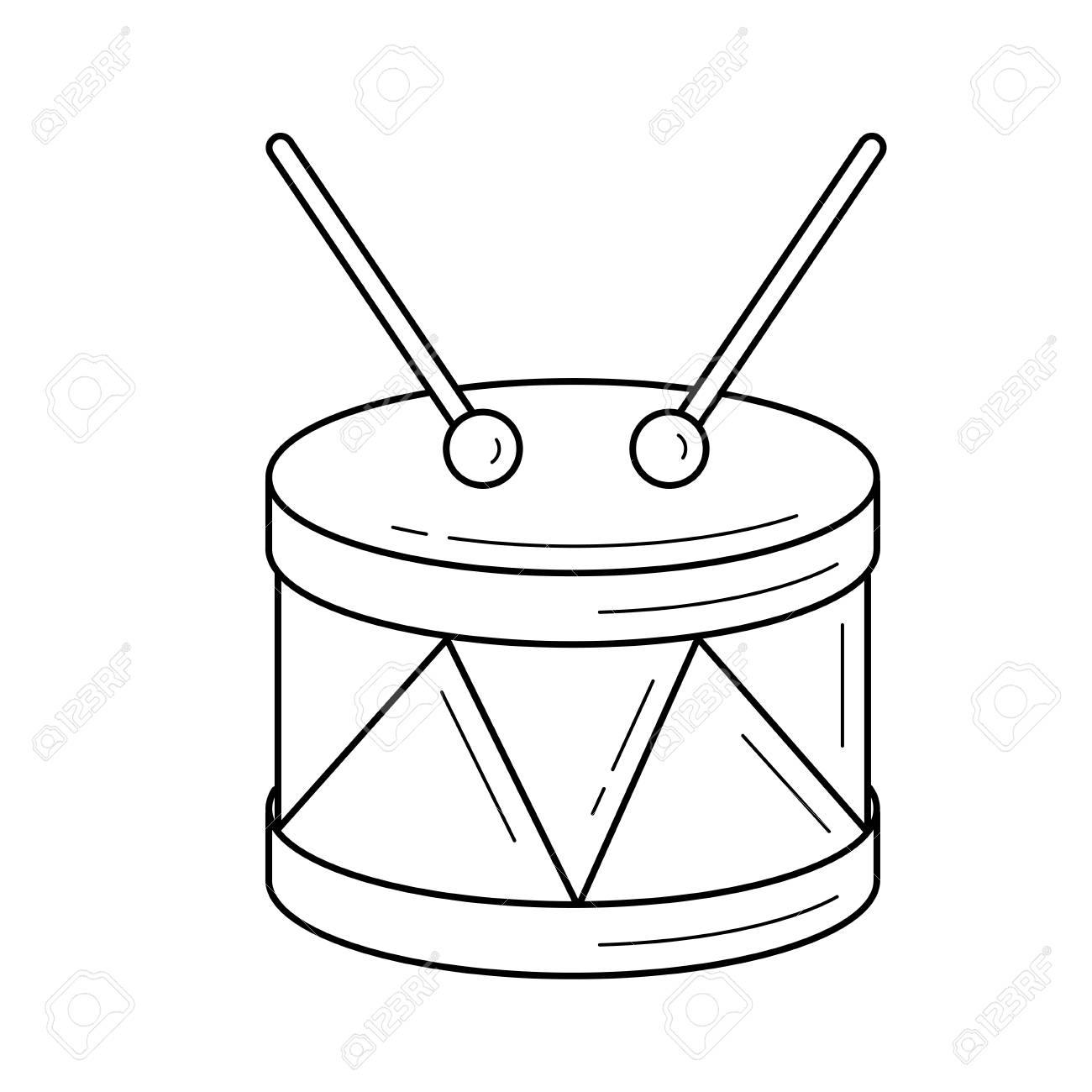 Snare Drum Vector Line Icon Isolated On White Background Snare 1300x1300