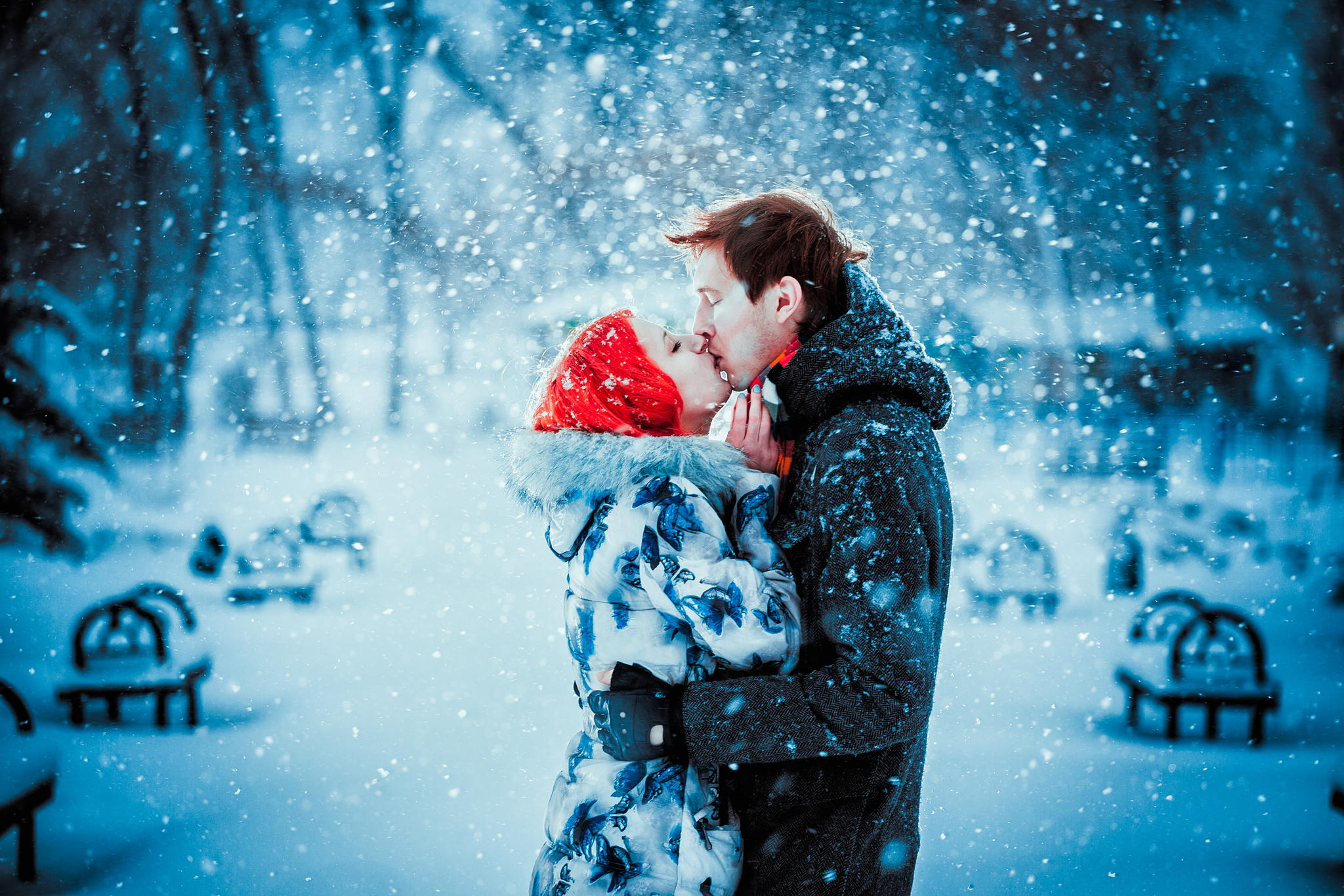 download Happy Young Couple In Winter Park Having Fun Happy 2048x1365