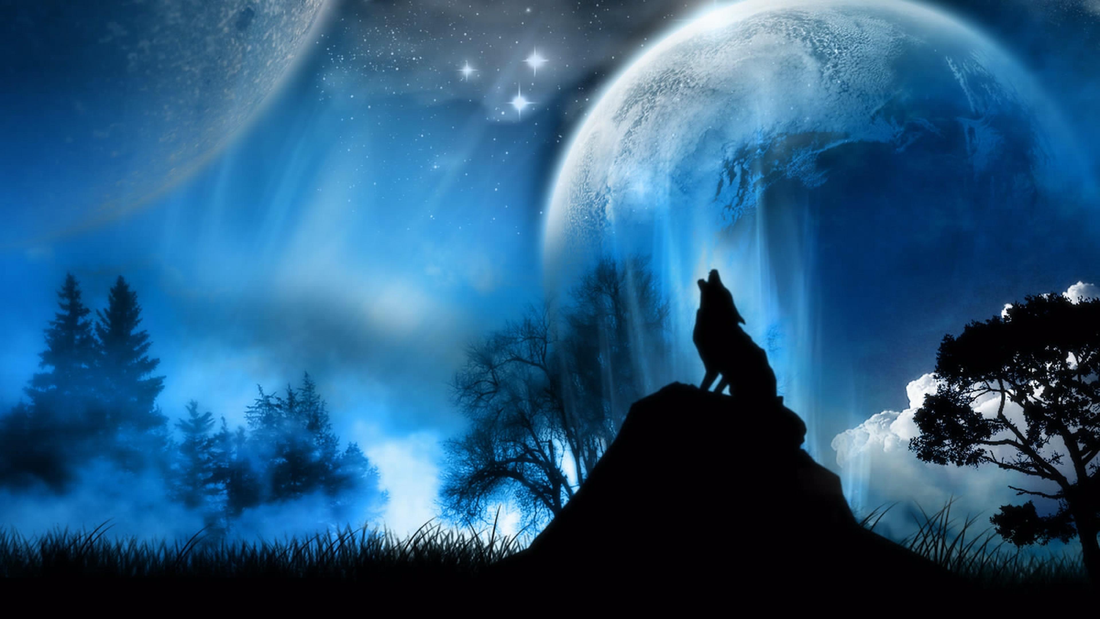 3840x2160 Wallpaper moonlight wolf fantasy 3840x2160