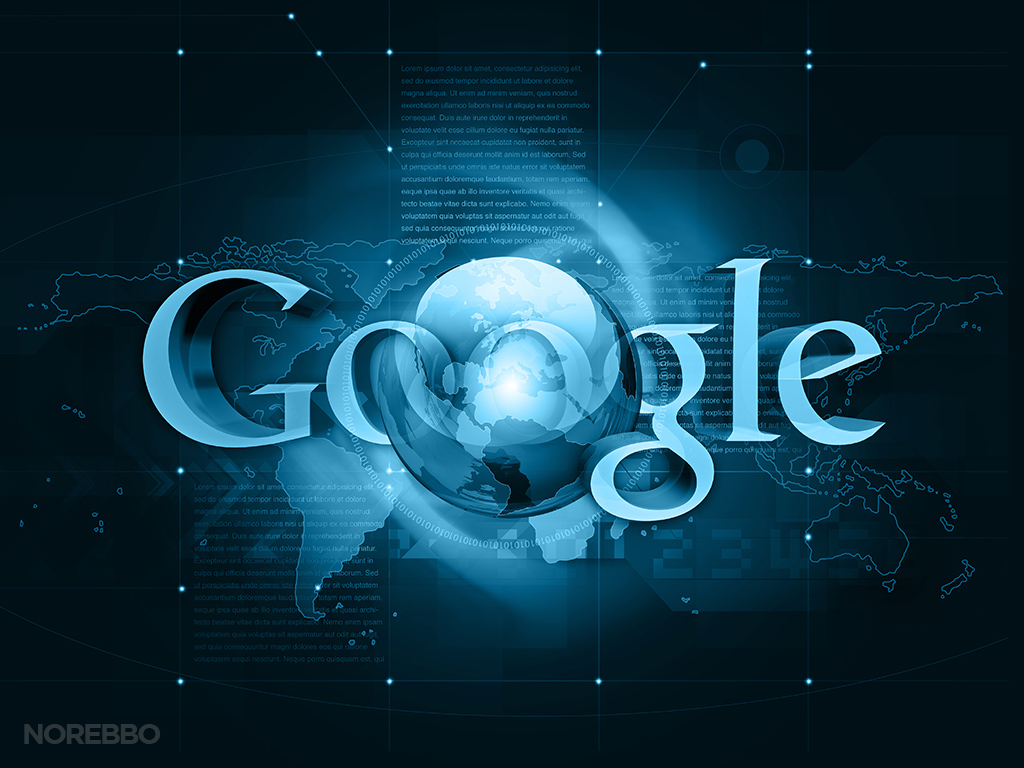 3d Google logo integrated into a world map background 1024x768