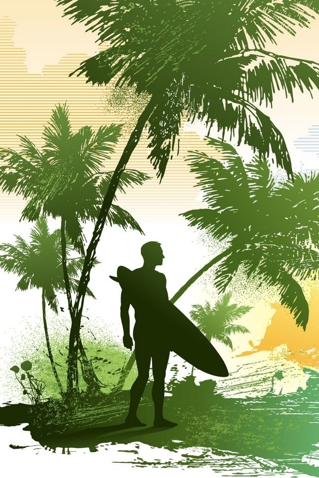 download vector summer surfing wallpapers for iphone 4 640x960