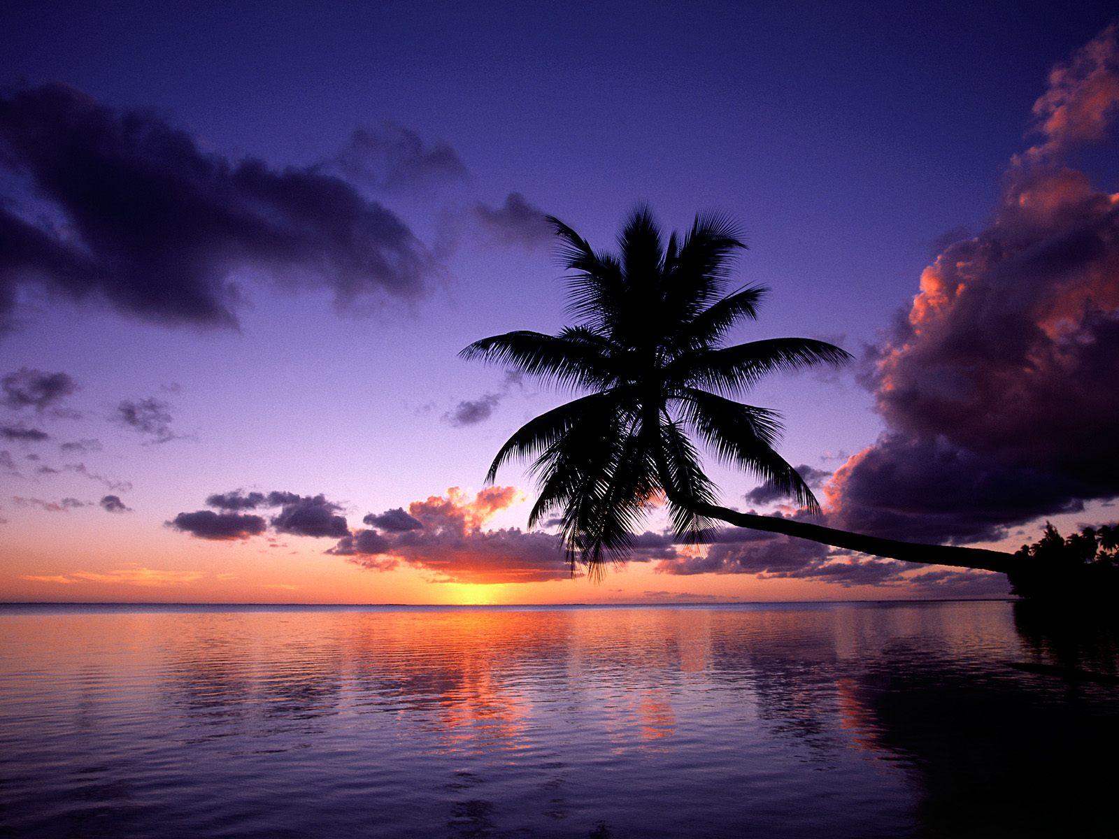 download 1600x1200 tropical island beach scenery sunset wallpaper