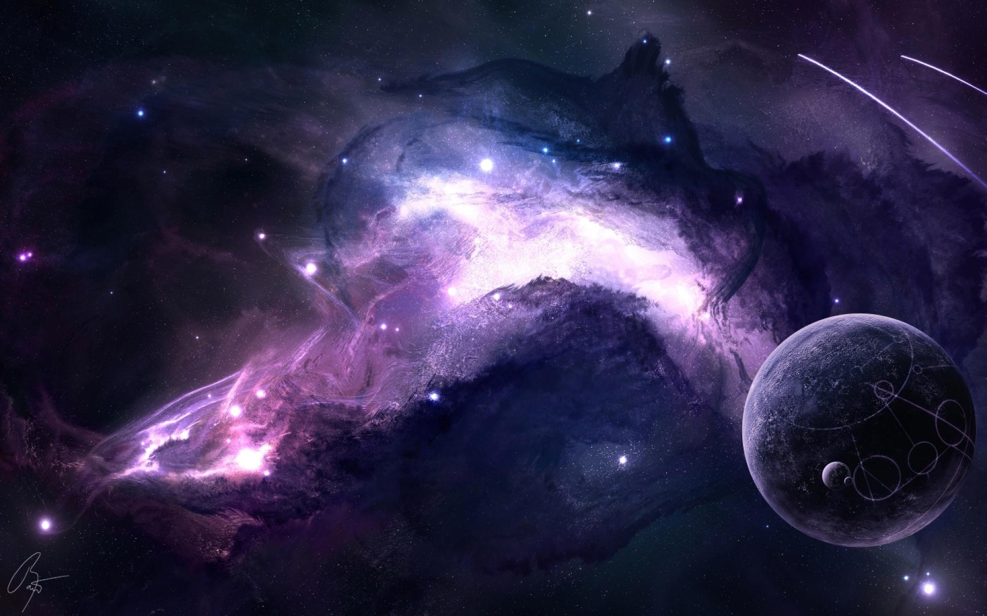 Purple Space and Nebula desktop wallpaper WallpaperPixel 1920x1200