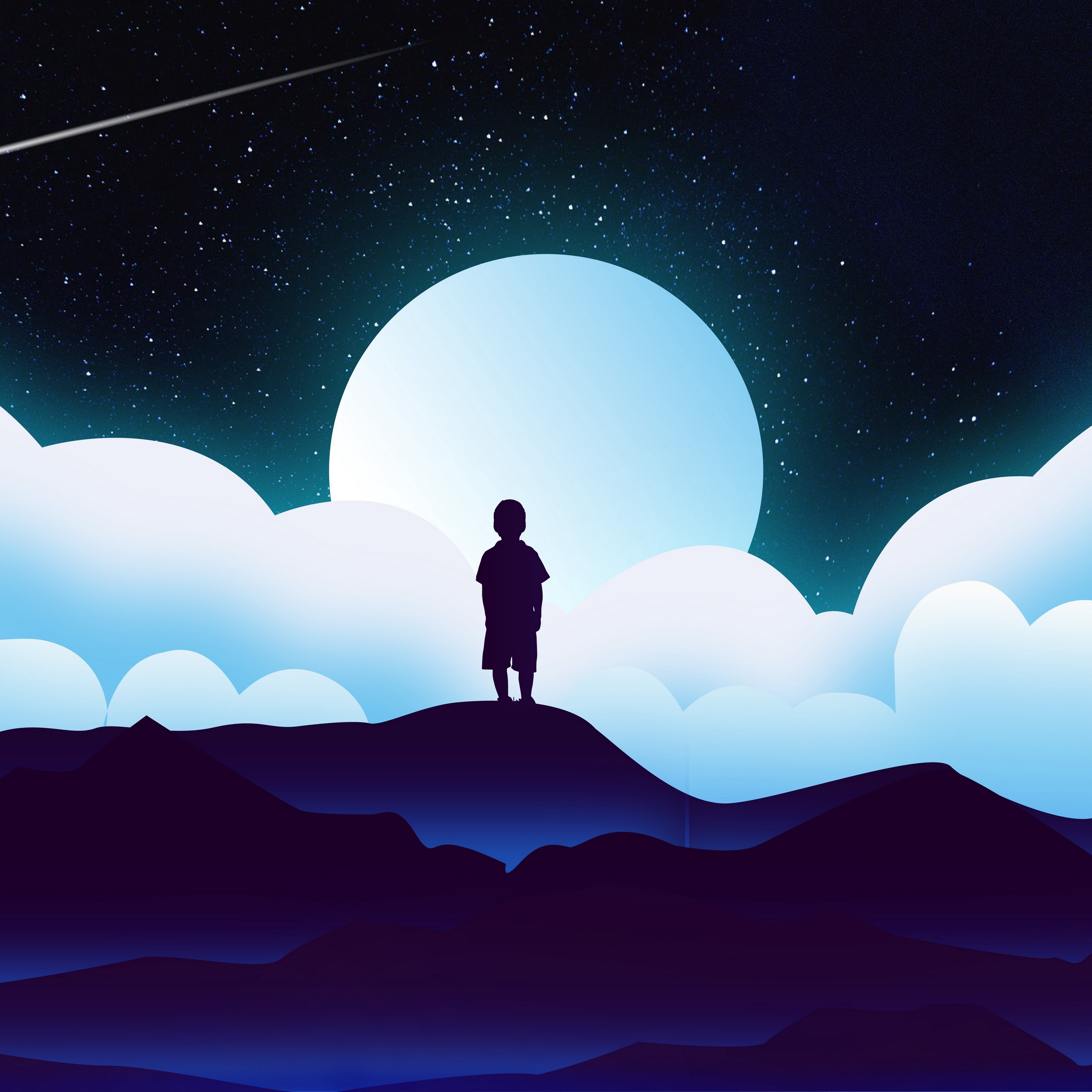 Download wallpaper 2780x2780 child silhouette space clouds 2780x2780
