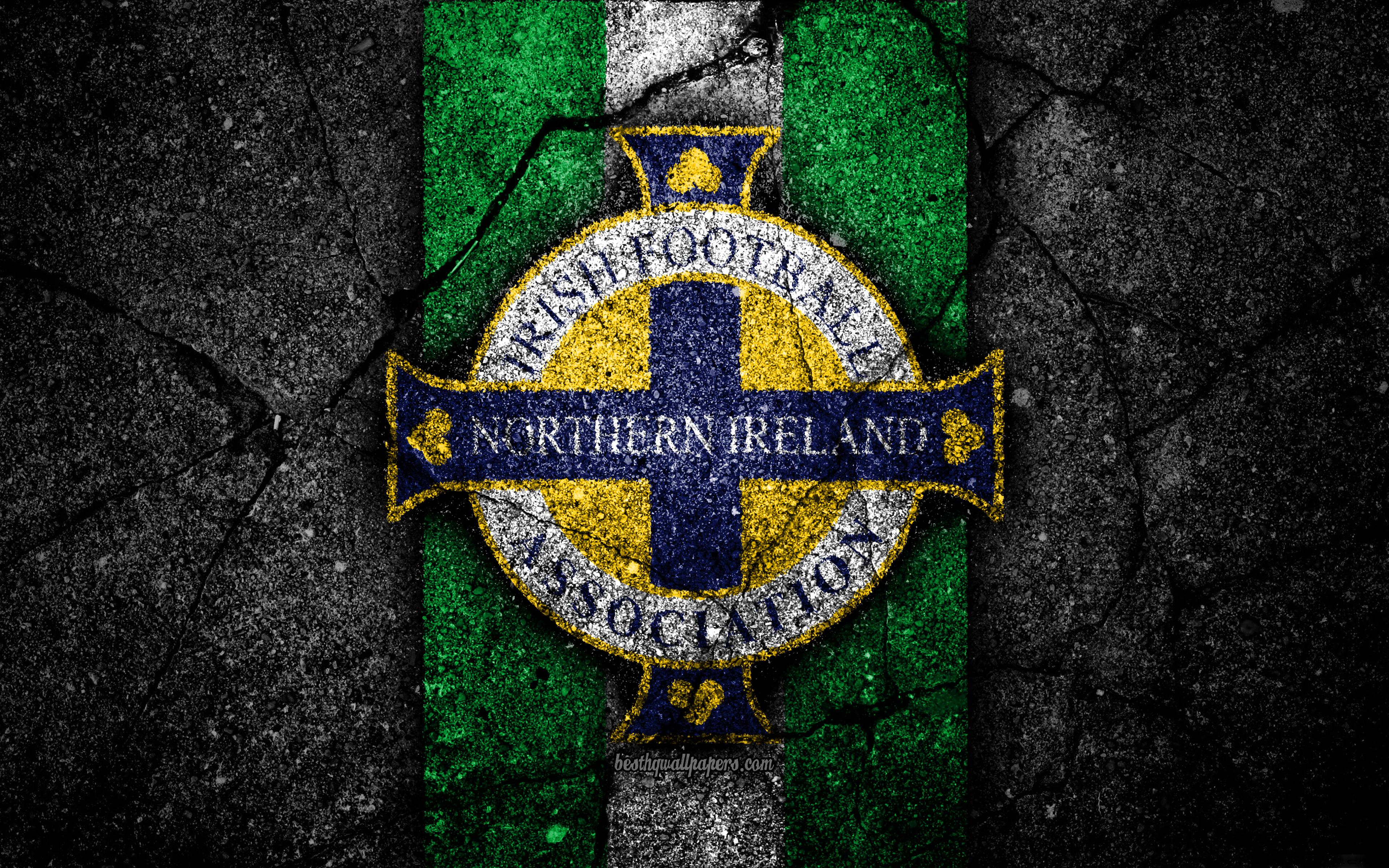 Download wallpapers Northern Ireland football team 4k emblem 3840x2400