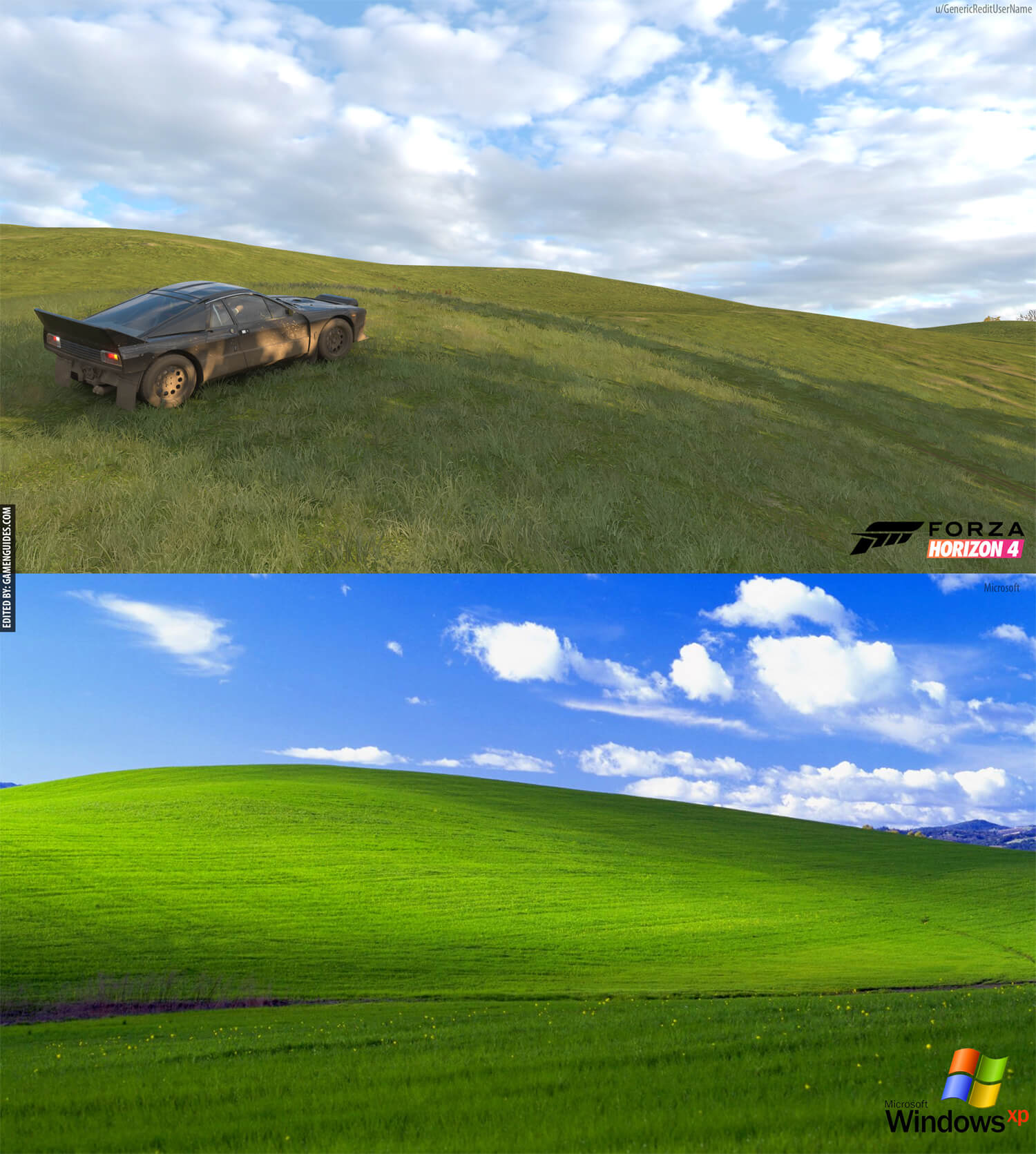 Microsofts Windows XP Default Wallpaper Found In Forza Horizon 4 1500x1671