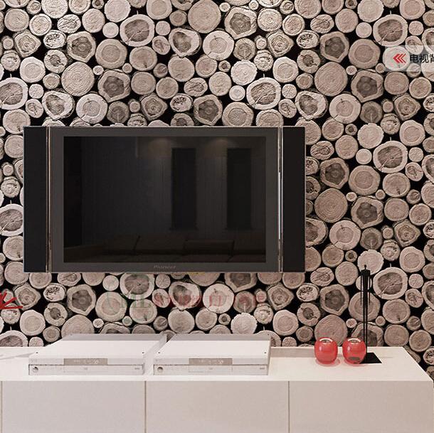Buy wood wall wallpaper Birch Tree pattern non woven woods wallpaper 610x609
