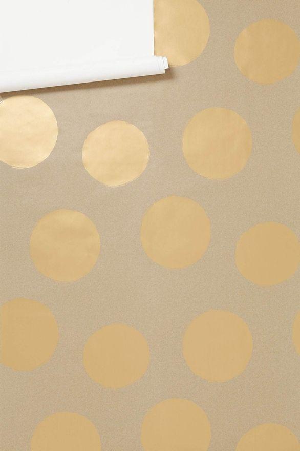 gold polka dot wallpaper walls Pinterest 586x880