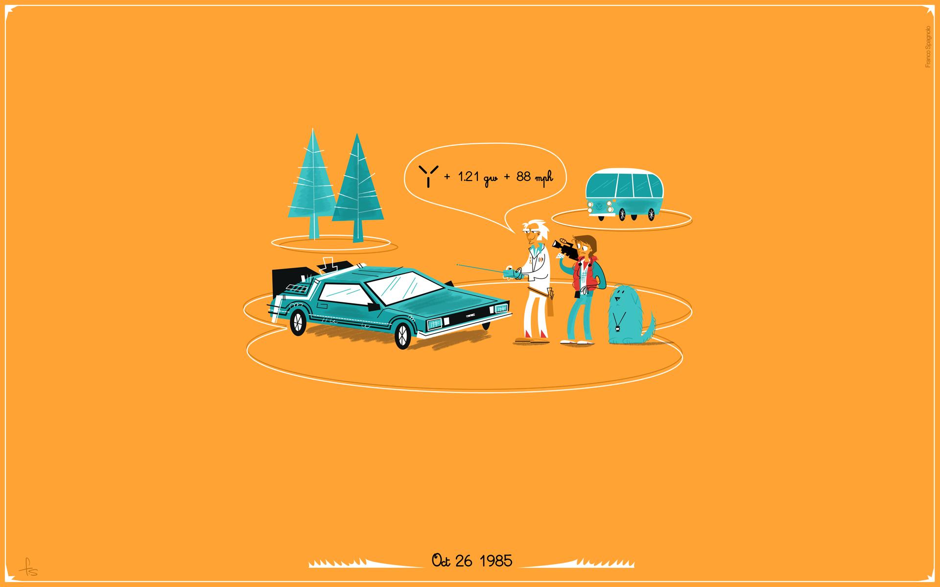 Back to the Future DMC DeLorean Orange wallpaper background 1920x1200