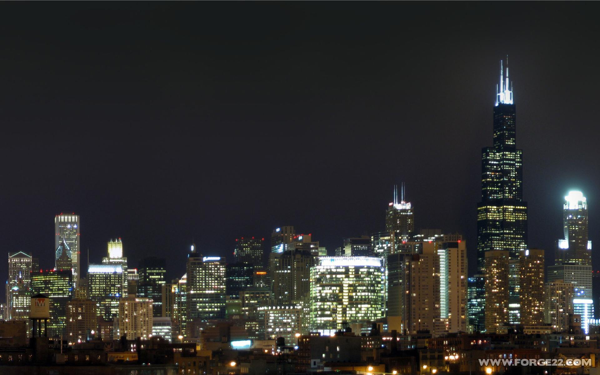 Chicago At Night Wallpaper: Night Skyline Wallpaper