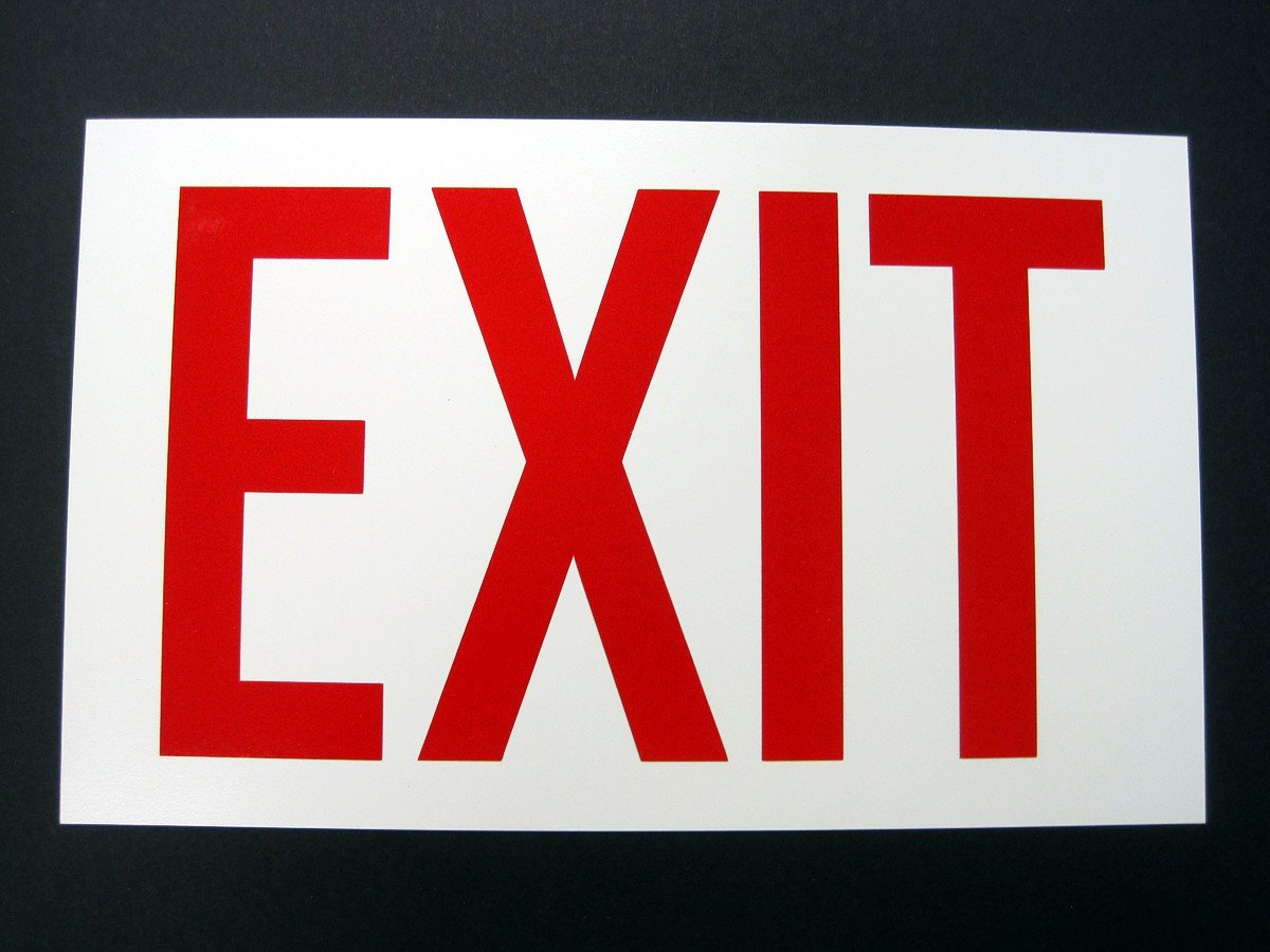 Rigid EXIT Sign red letters photoluminescent background 12 in x 1200x900
