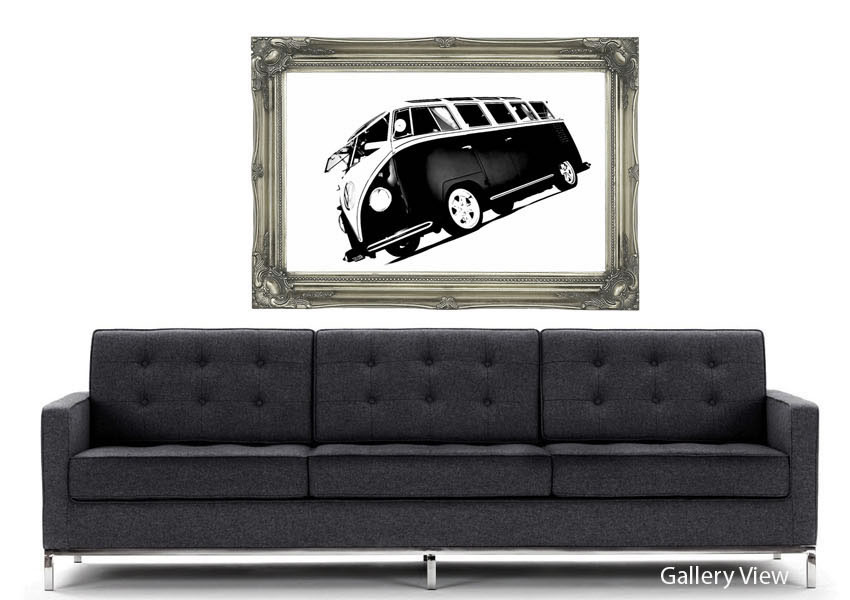 Vw Camper Van Black White Transport Art Mural Printed Wall Mural 850x600