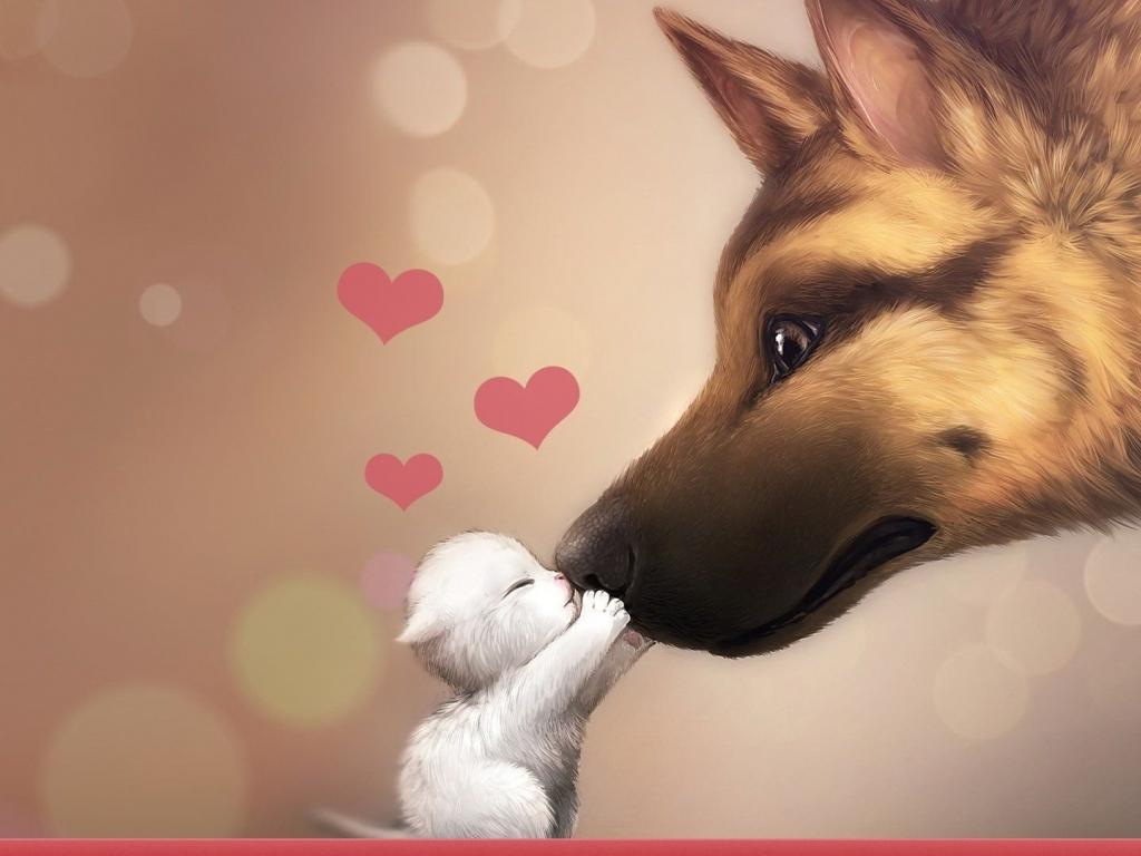 Valentines Day Dog Cat Love HD wallpaper 1920x1080 Valentines Day 1024x768