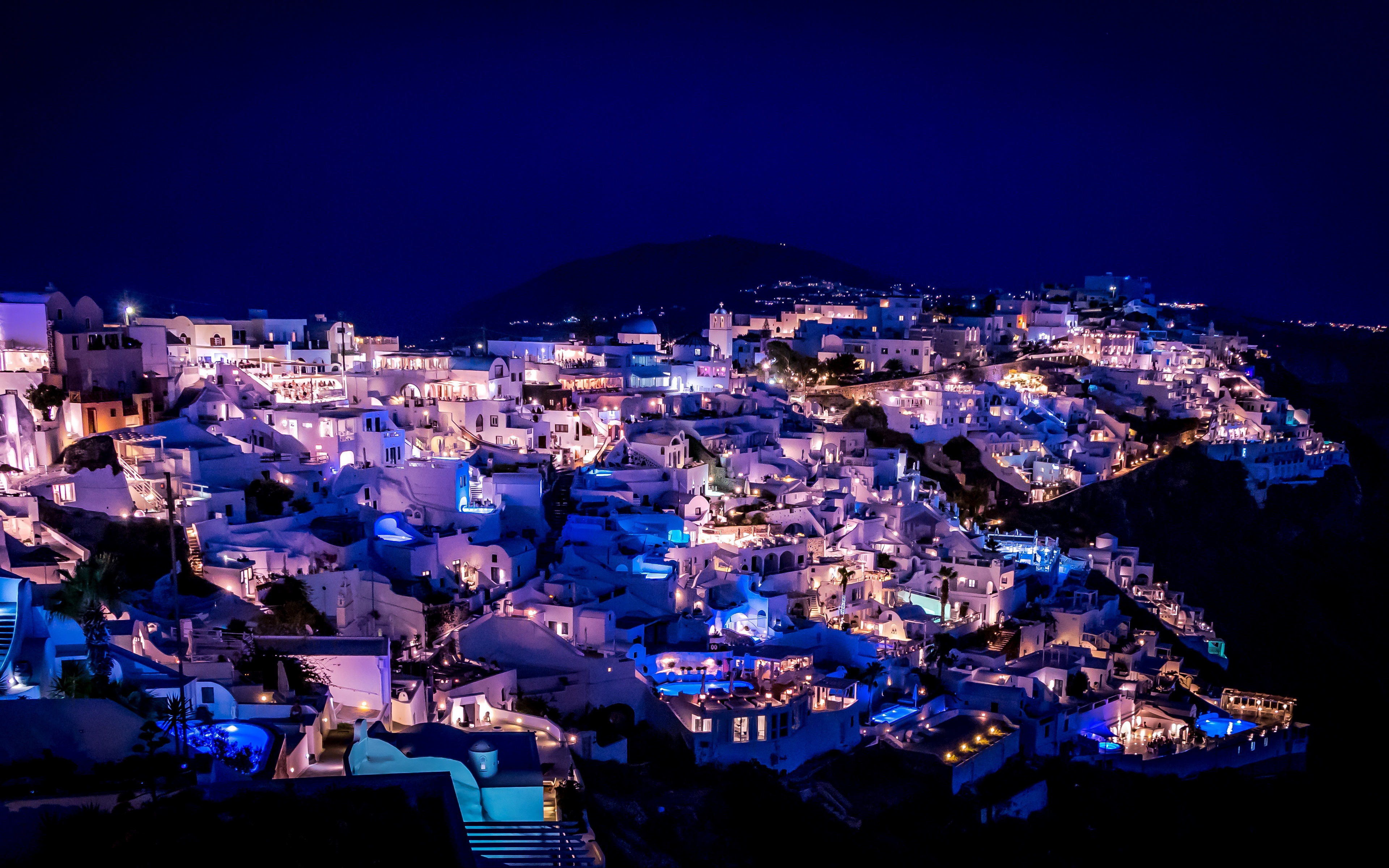 Download wallpaper 3840x2400 santorini greece night city 3840x2400