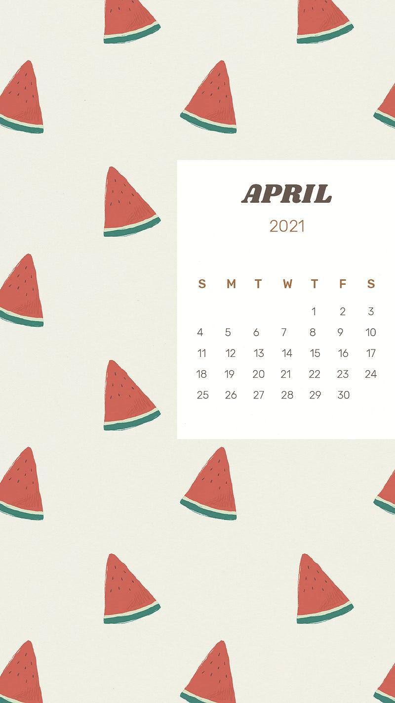 Calendar 2021 April printable psd template cute watermelon background 800x1422