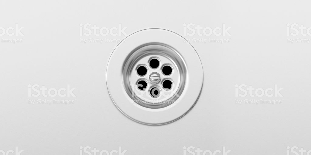 Stainless Steel Sink Background With Sink Drain Top View 3d 1024x512