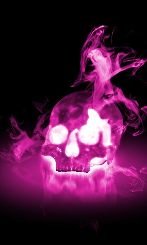 Smoky Neon Skull Wallpaper   screenshot 480x800