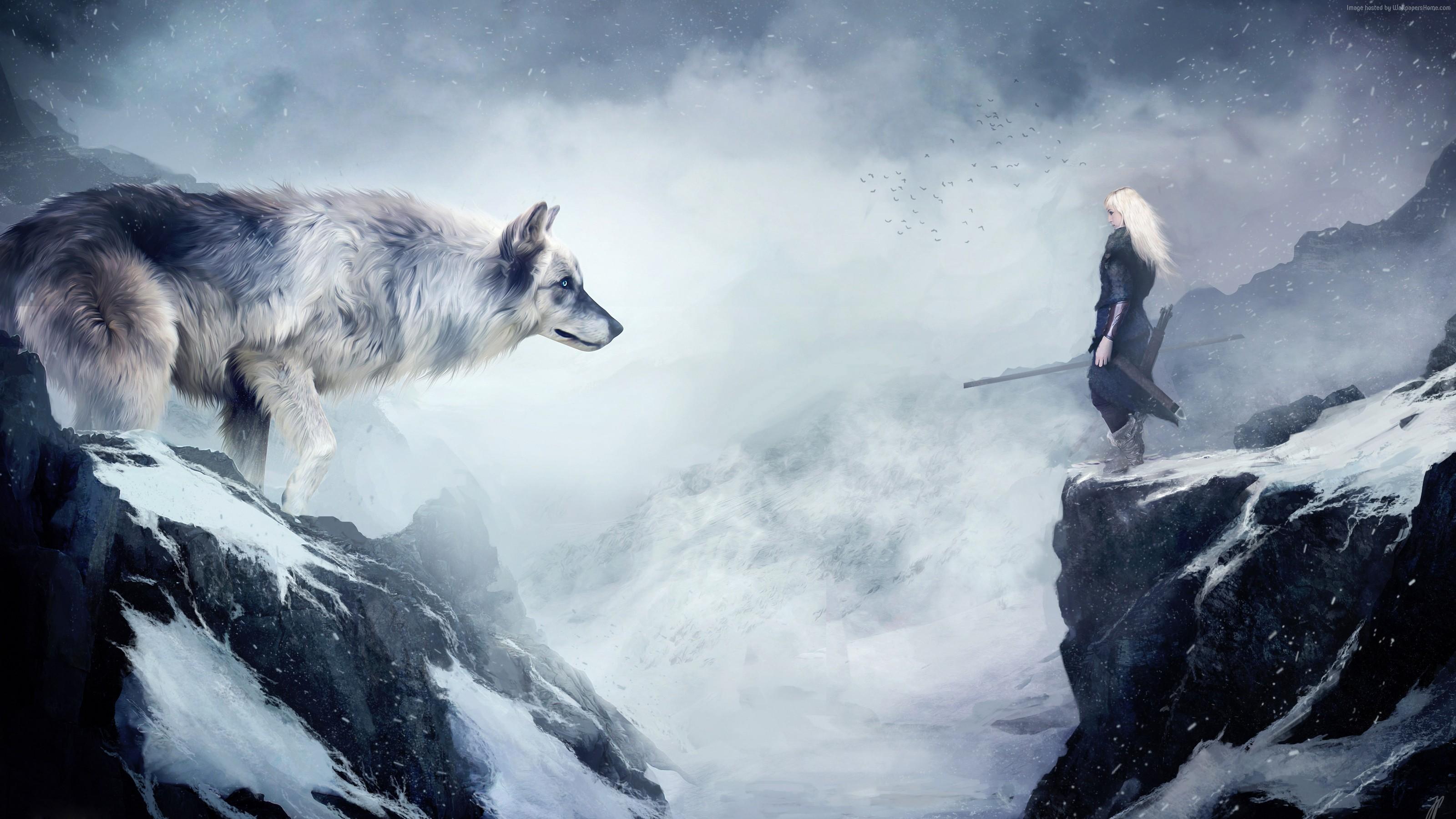 wolf Wallpaper OS wolf mountain girl animals winter drawing 3200x1800