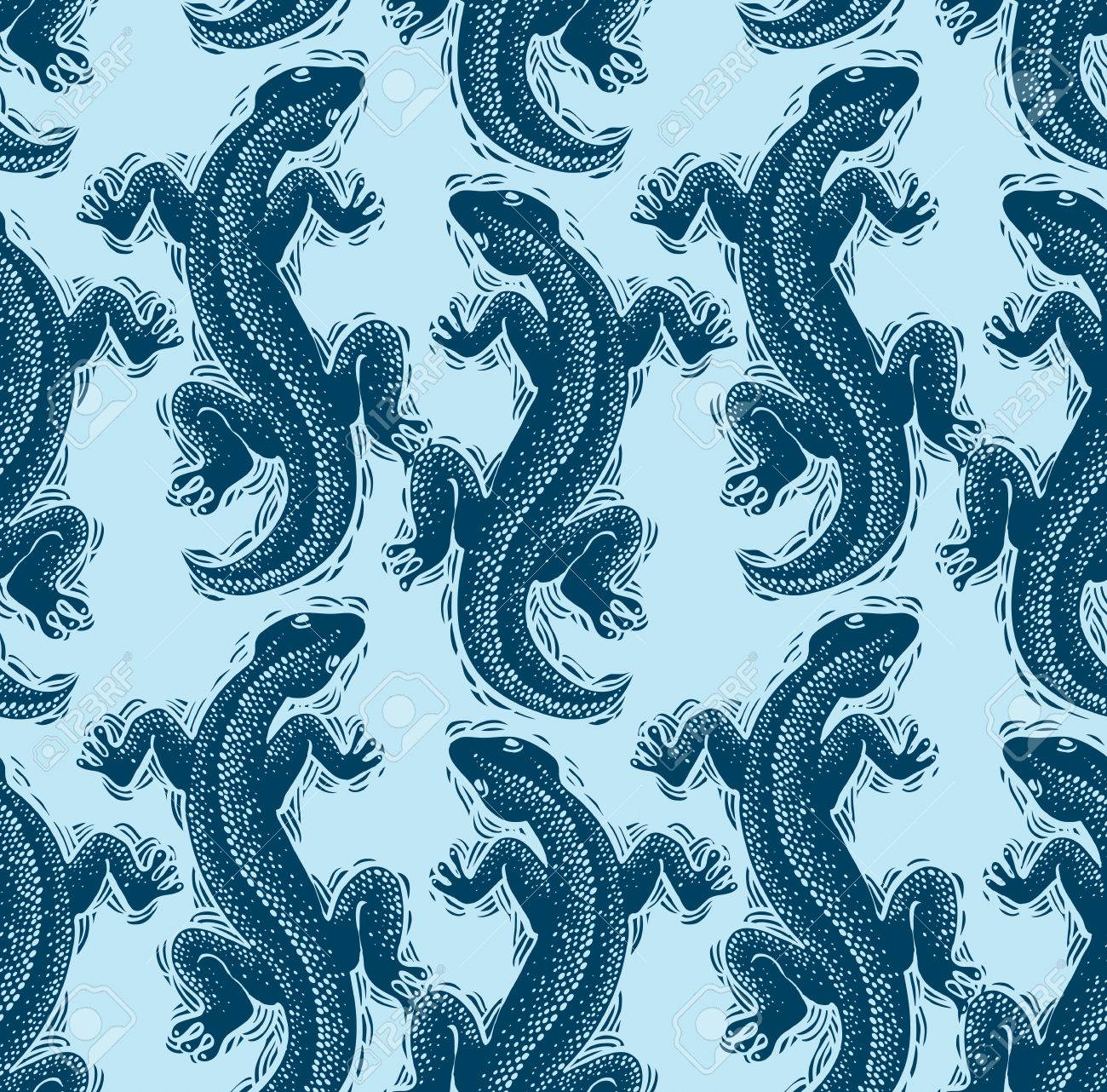 Vector Lizards Wrapping Paper Seamless Pattern With Reptiles 1300x1282