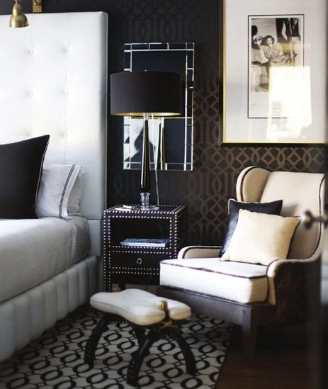 Lamp in front of a mirror over a nightstand bedroom Pinterest 463x549