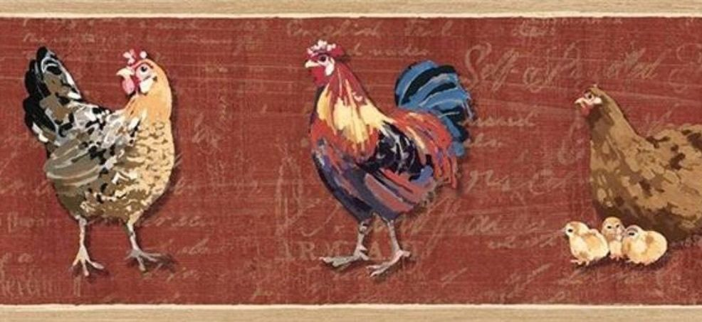 Wallpaper Border French Country Brick Red Rooster and Chicks Hens with 986x453