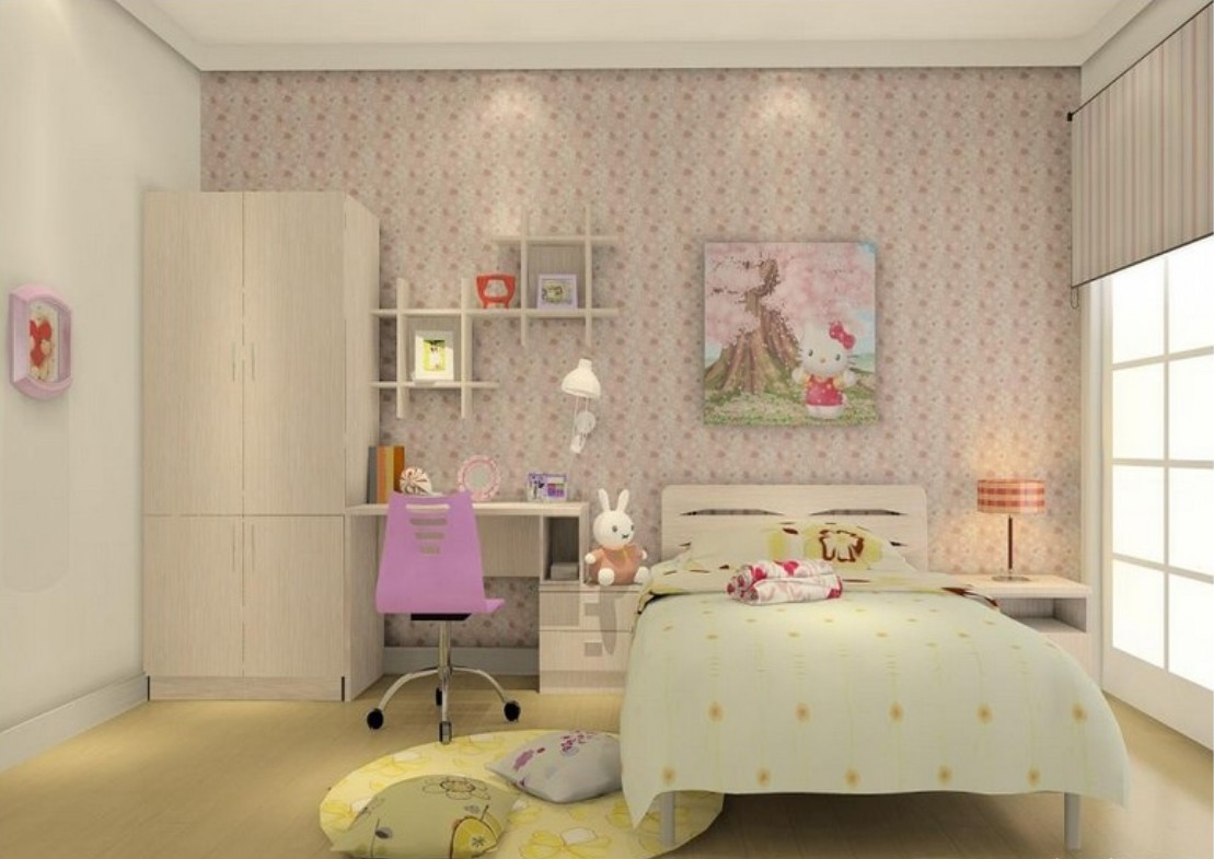 little girl room with wallpaper wallpaper girl room wall interior 1109x785
