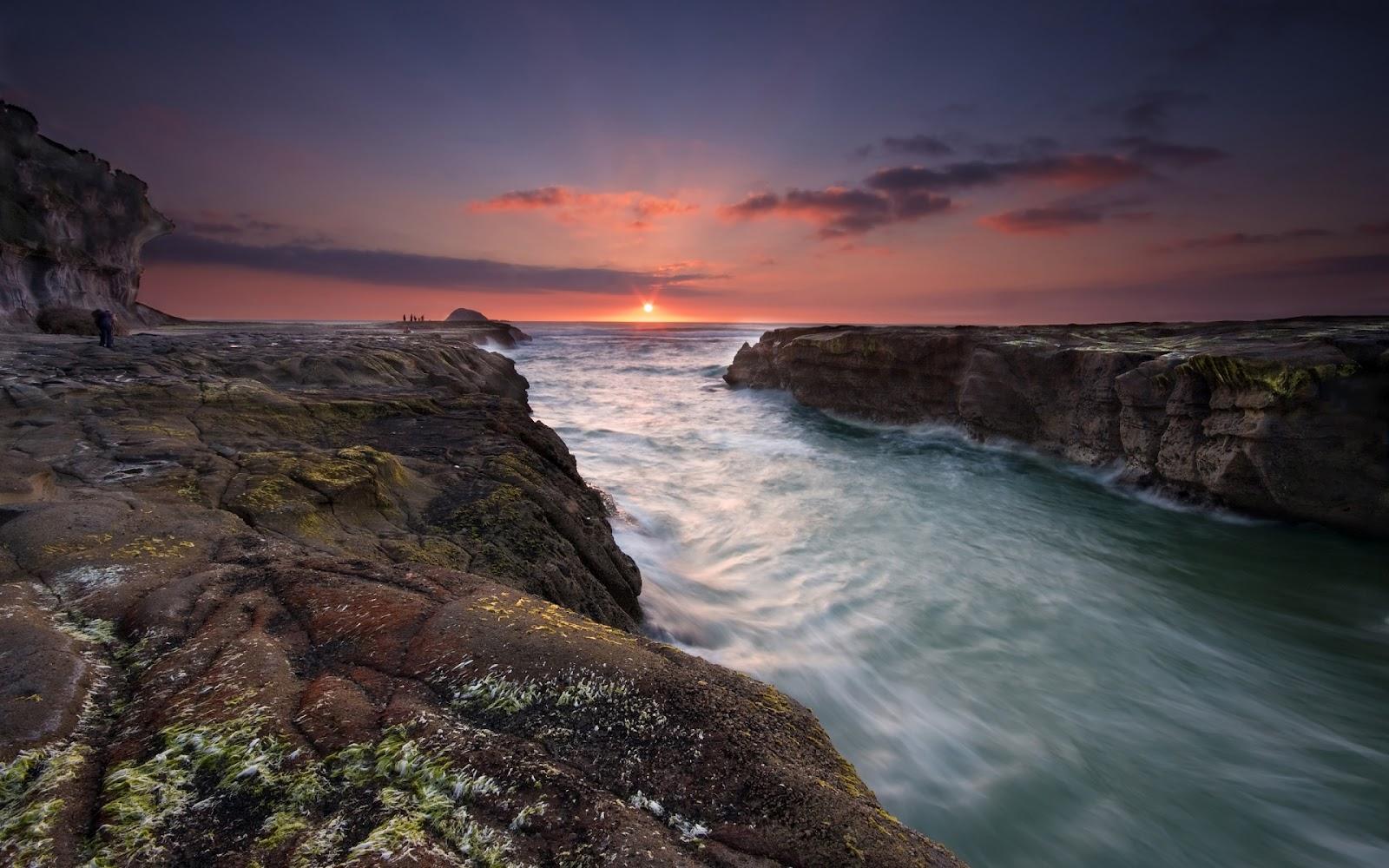Sunset Muriwai Beach Full HD Nature Background Wallpaper for Laptop 1600x1000