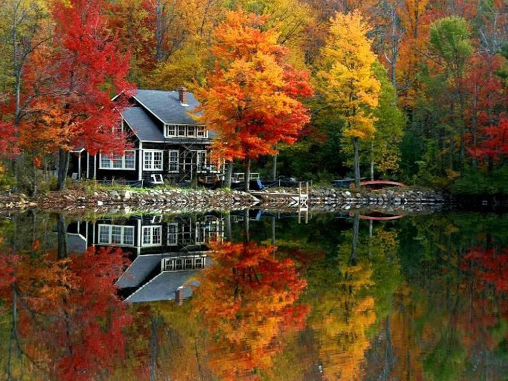 Free Download Fall Scene At Lake House 990x743 For Your