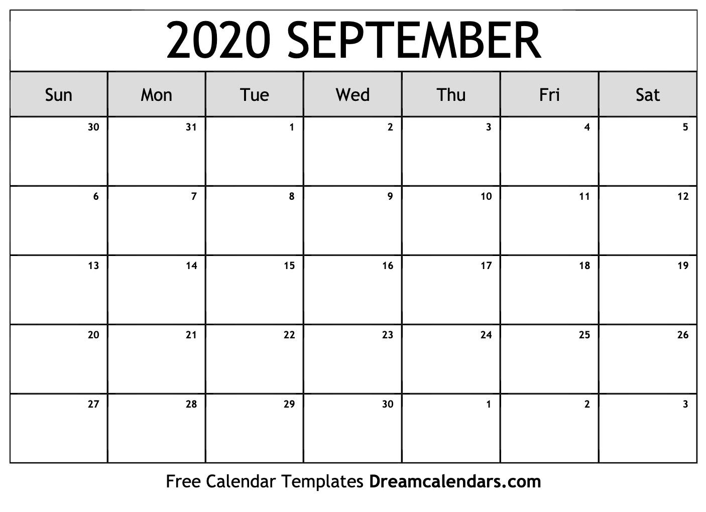 September 2020 Printable Calendar Dream Calendars 1406x1020