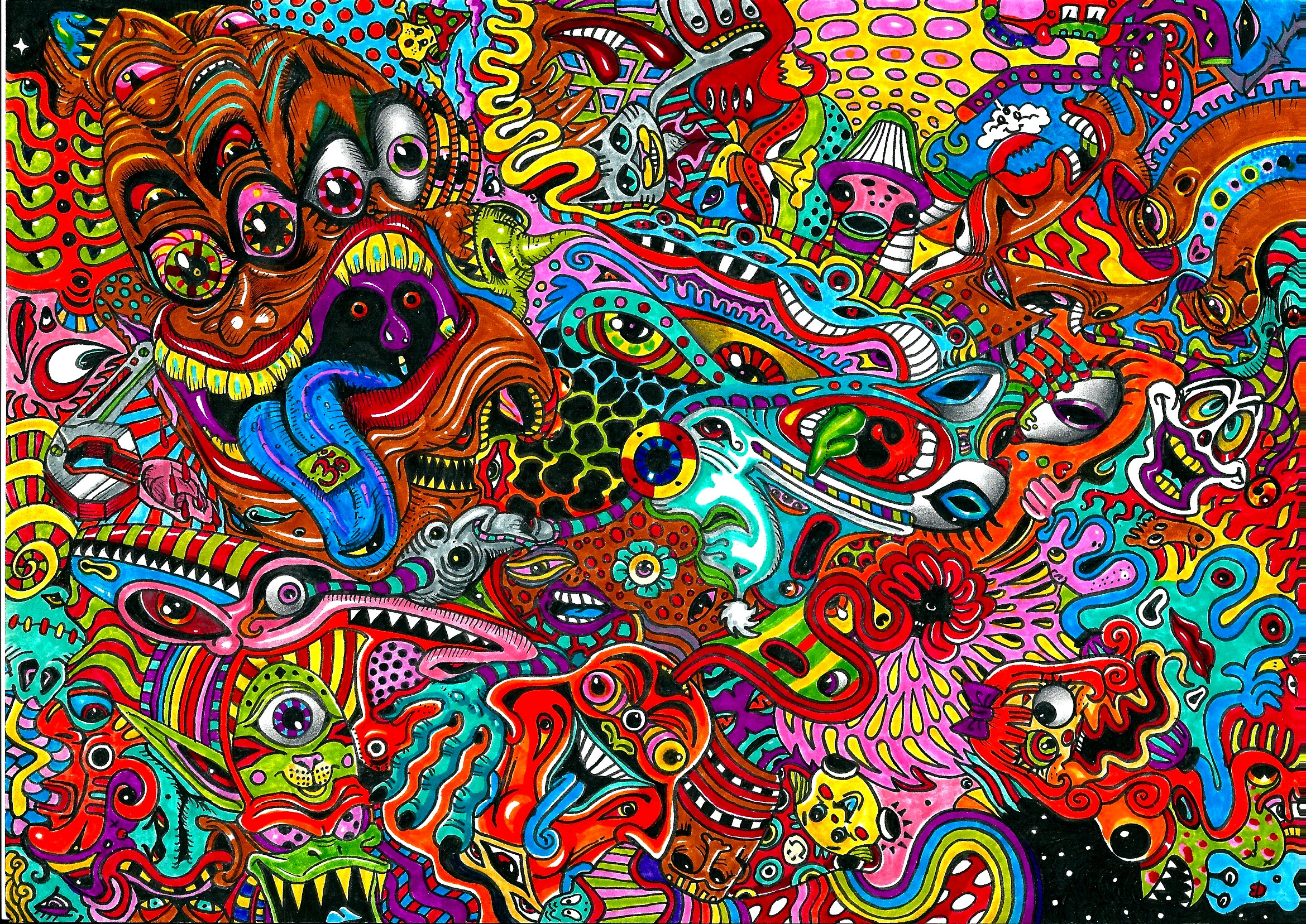 psychedelic art color detail dark monsters wallpaper background 2339x1656