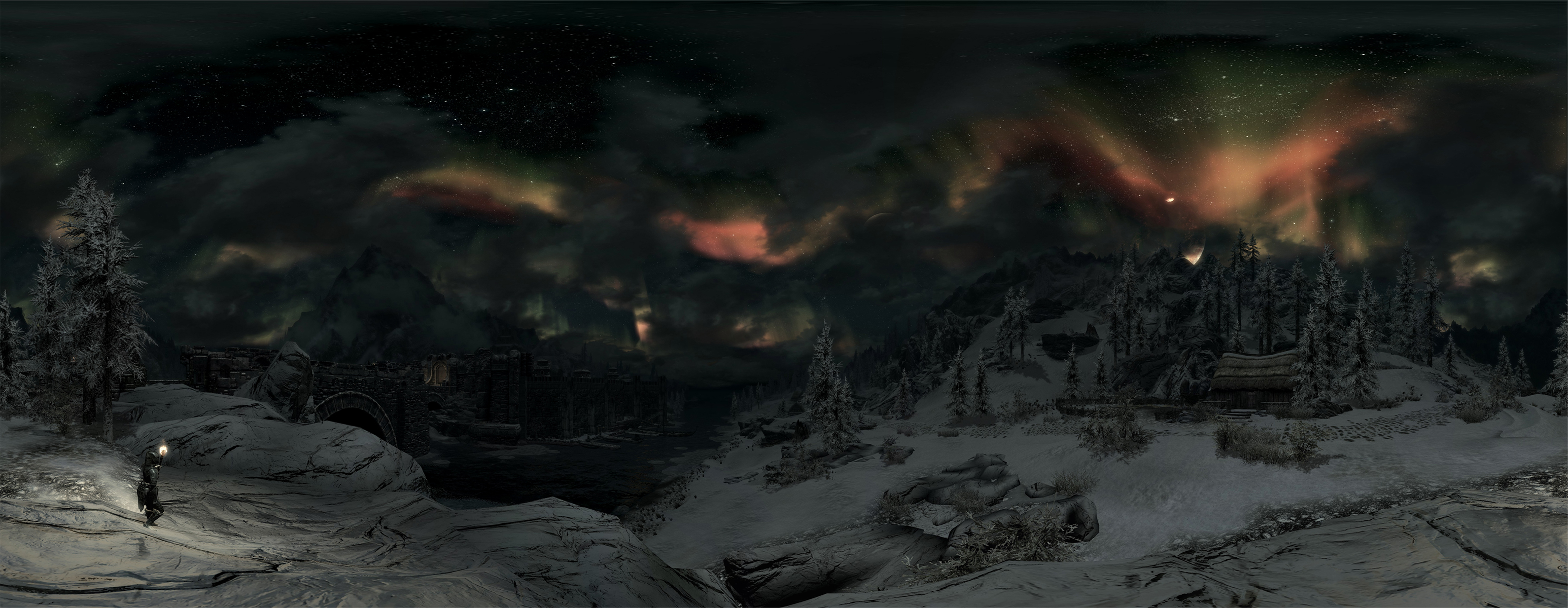 Beautiful Skyrim night sky panorama by Mallony 3091x1200