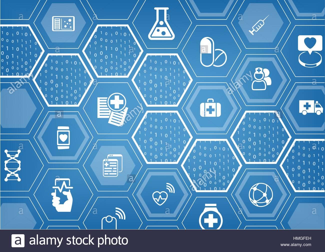 Electronic e healthcare blue vector background with hexagonal 1300x1009