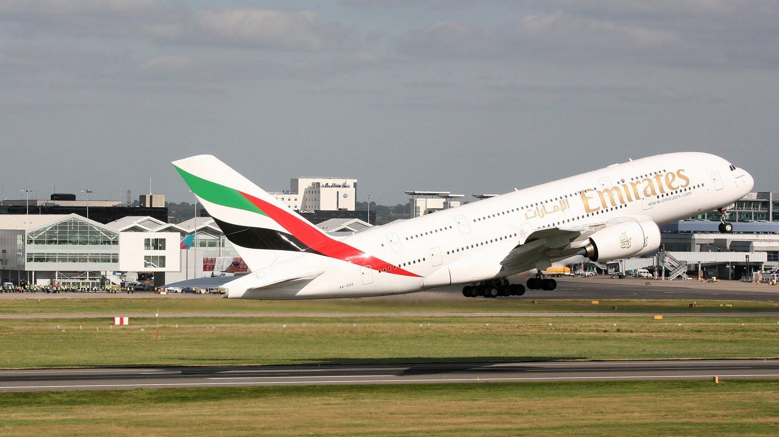 Emirates Airlines Airbus A380 Take Off Wallpaper 755   AERONEFNET 1600x898