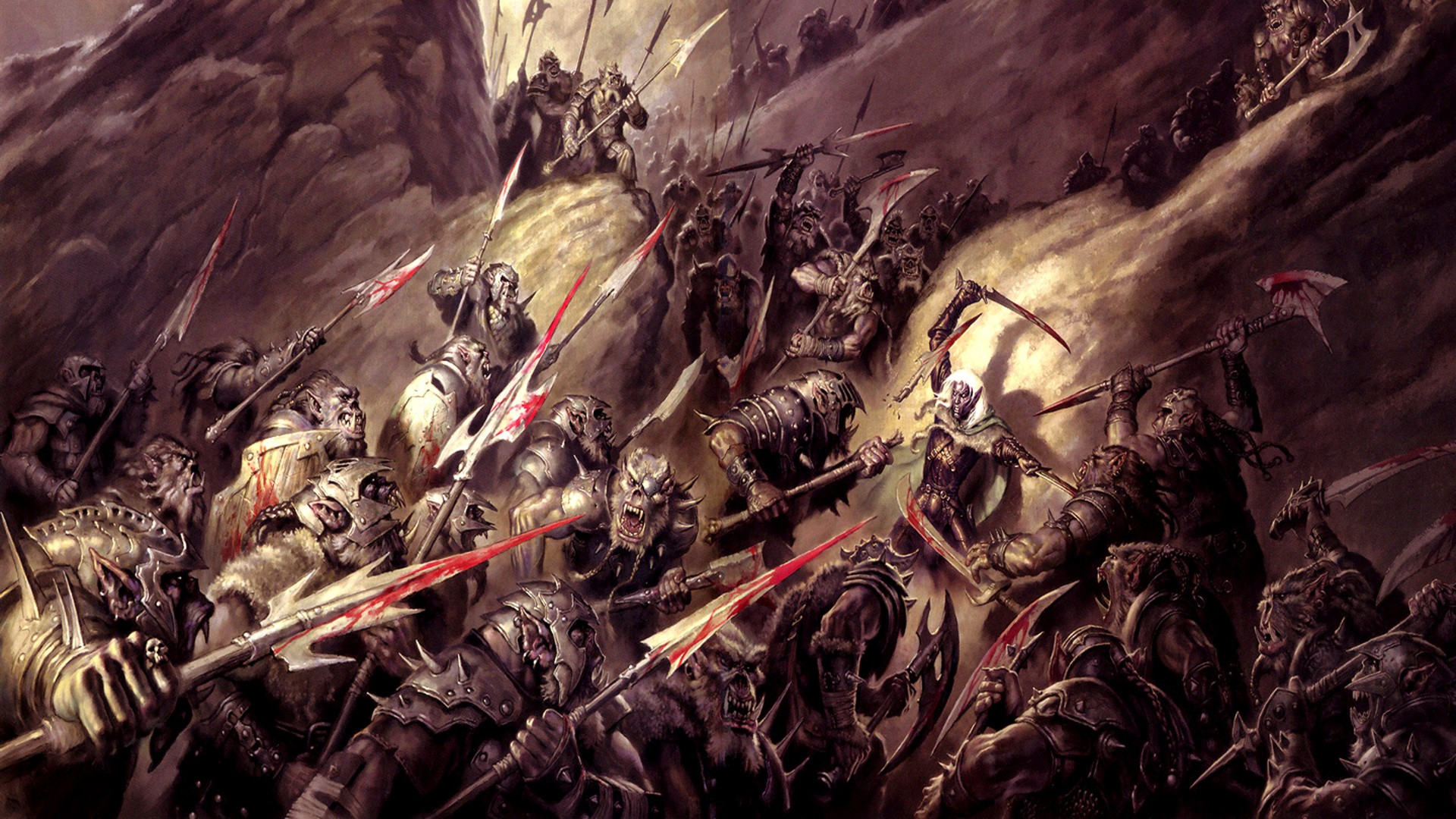 fantasy art armor dnd orcs axes dungeons and dragons spears drizzt 1920x1080