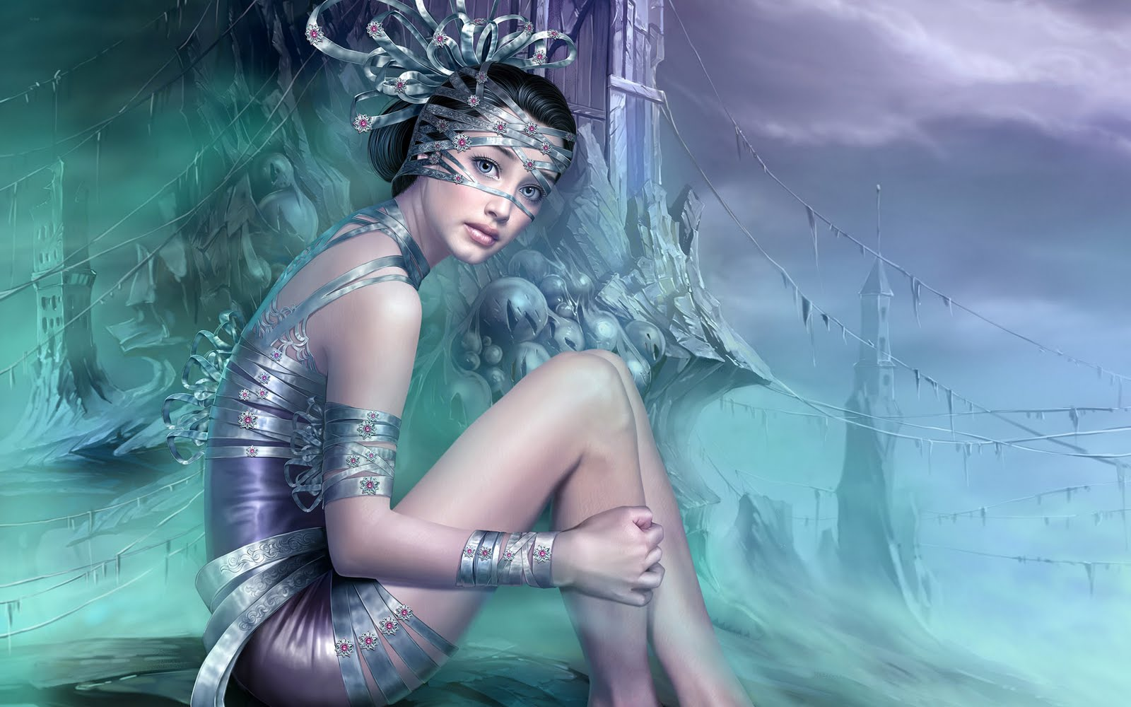 Fantasy girl Pc desktop HD paintingswallpaper 1440x900 and 1920x1200 1600x1000