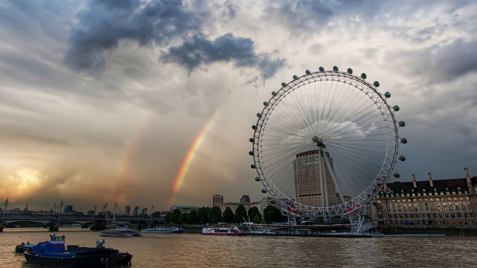 Rainbows Near London Eye View HD Wallpapers 1920x1080