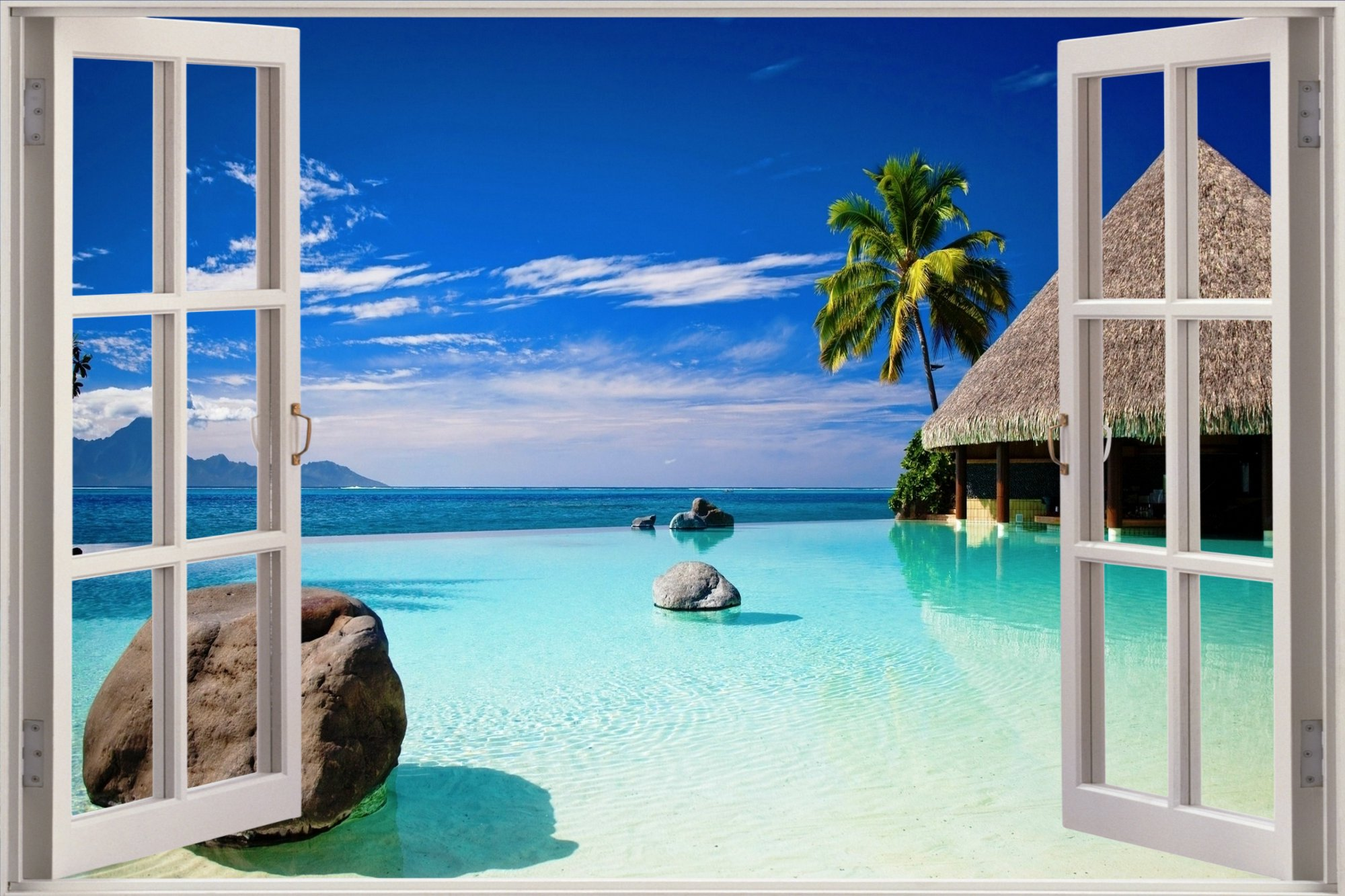 Open window beach -  3d Window Exotic Ocean Beach View