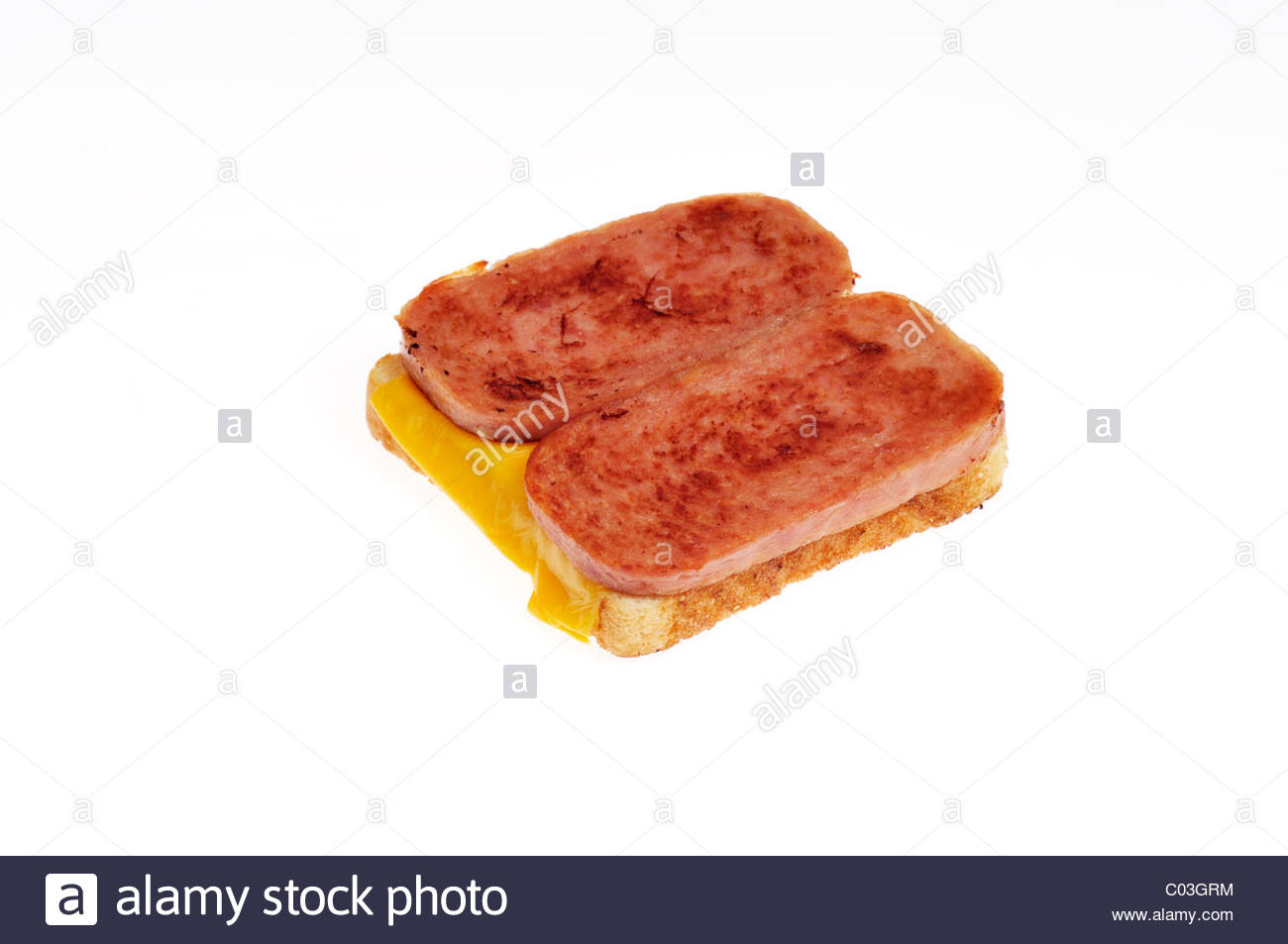 Open faced Hormel foods grilled Spam white sandwich bread with 1300x953