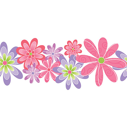 Blue Mountain Flower Power Wallpaper Border PinkPurpleGreen 500x500